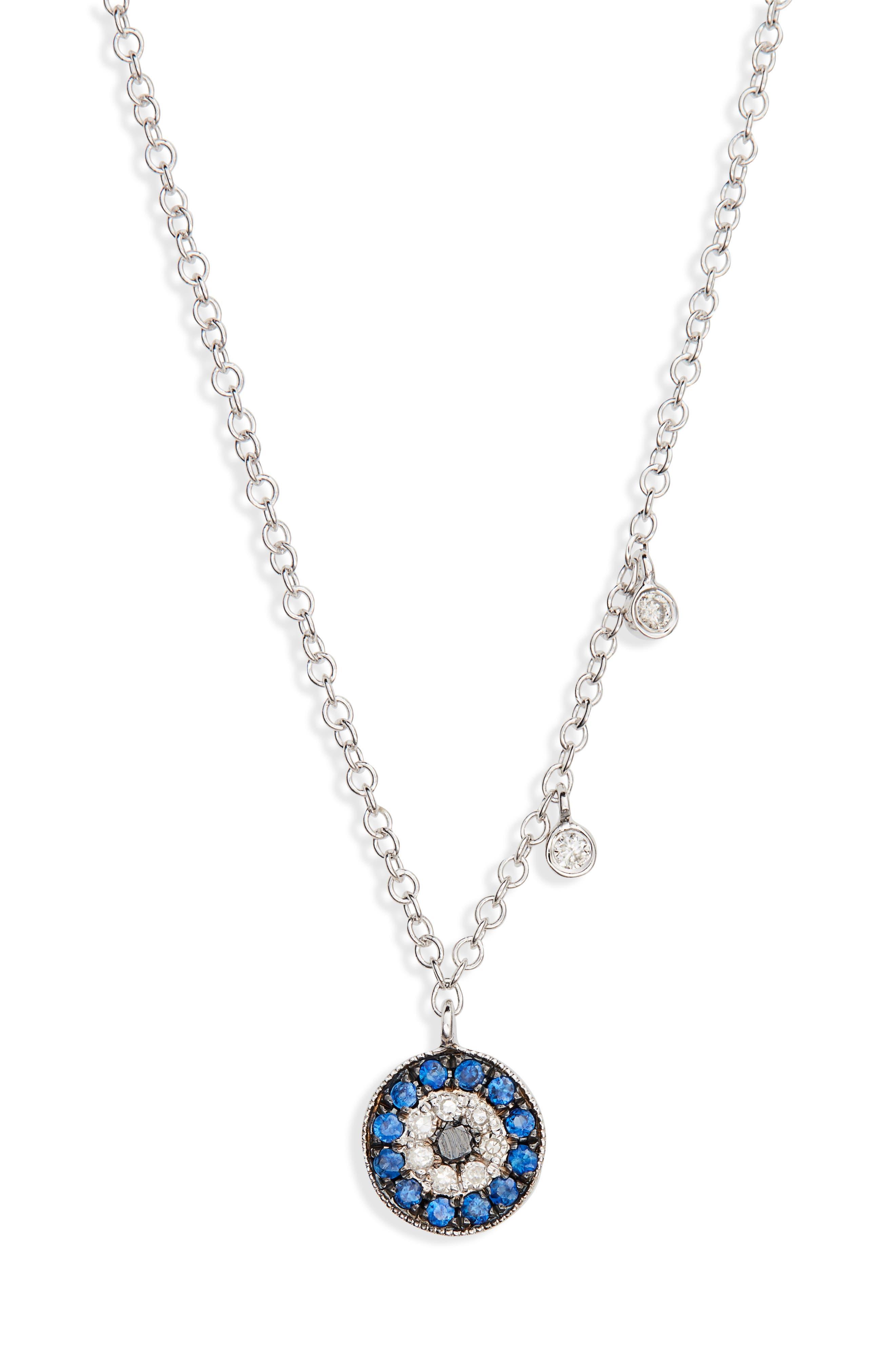 MEIRA T Evil Eye Diamond & Sapphire Pendant Necklace in Blue