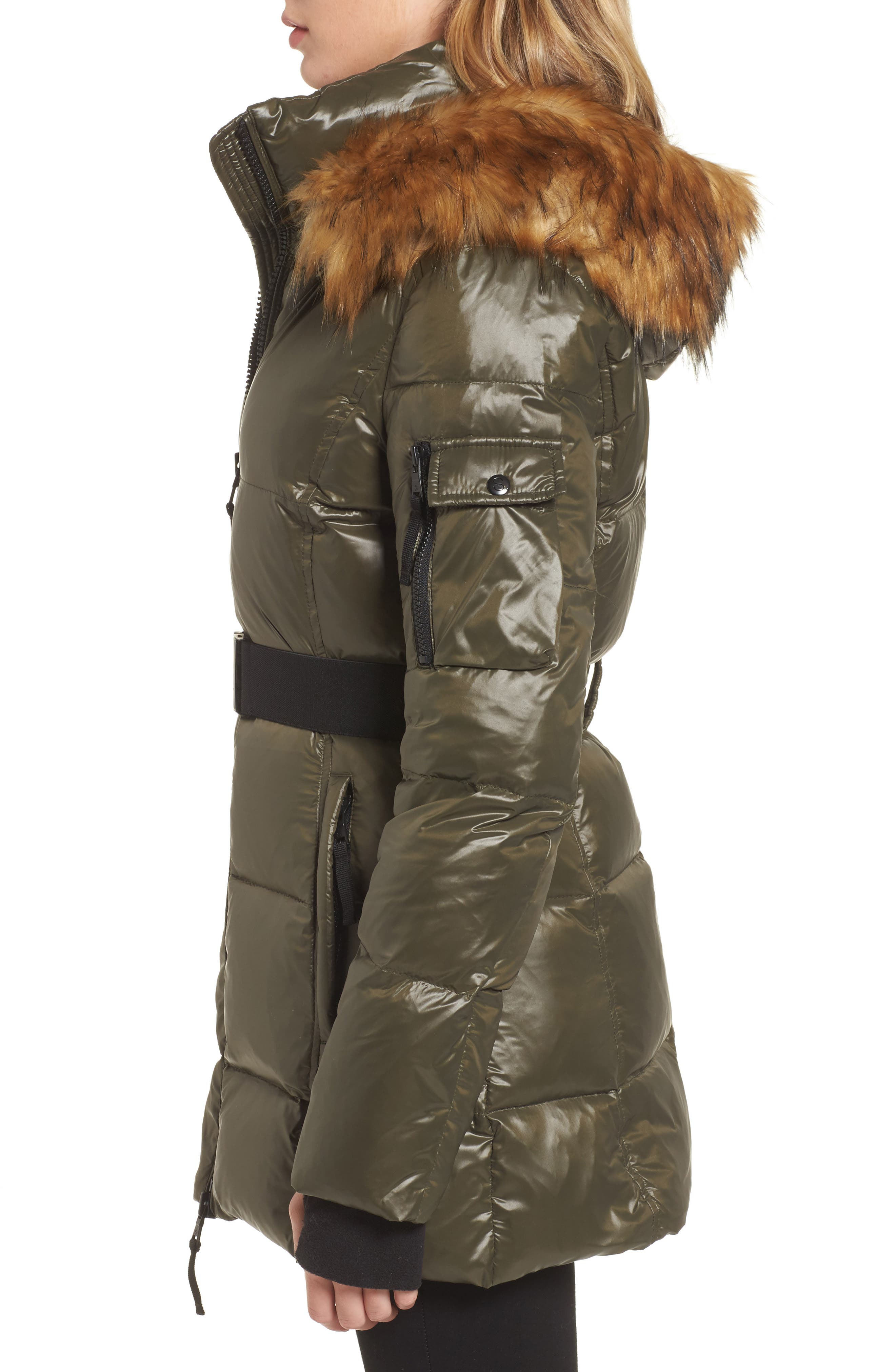 S13 'Nicky' Quilted Coat with Removable Faux Fur Trimmed Hood,                             Alternate thumbnail 3, color,                             304