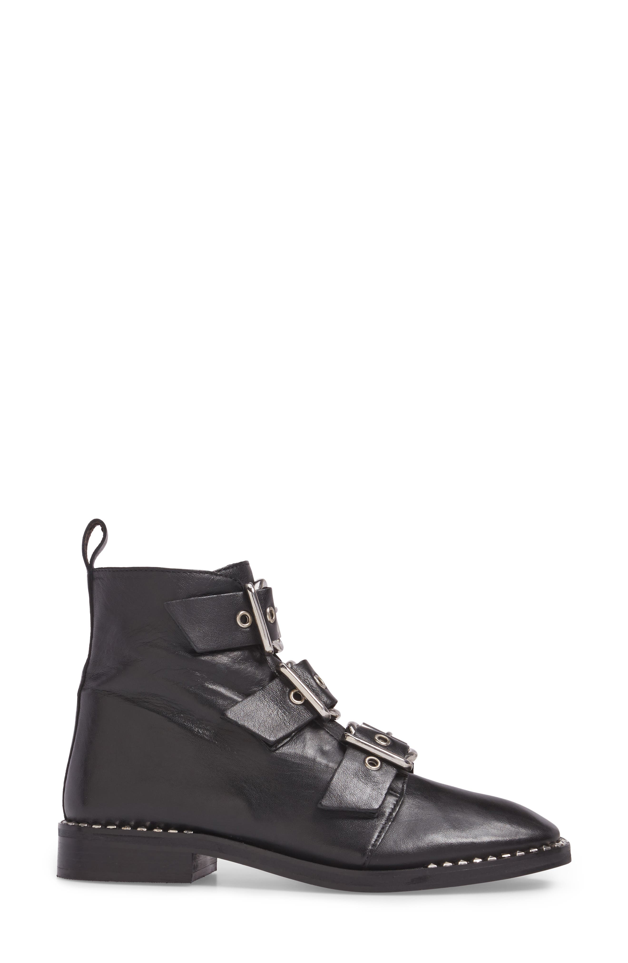 Alfie Buckle Ankle Boot,                             Alternate thumbnail 3, color,                             001