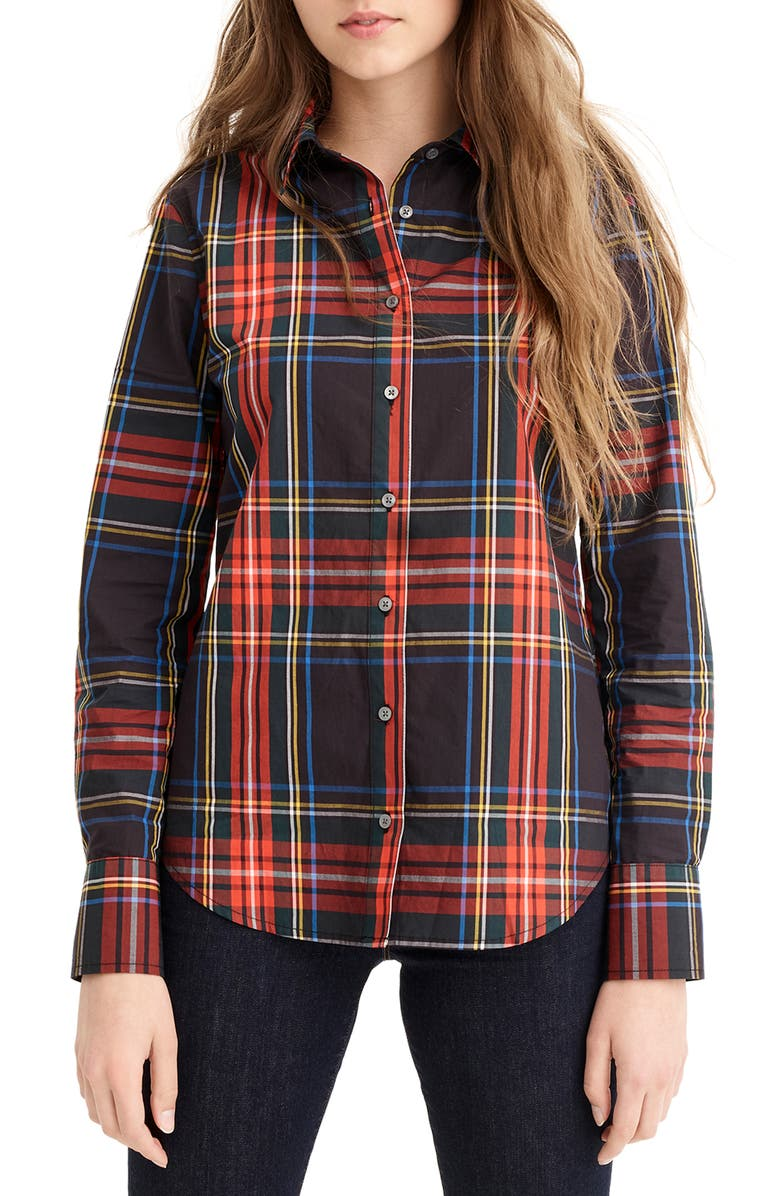 J.crew STEWART TARTAN PERFECT SLIM STRETCH SHIRT