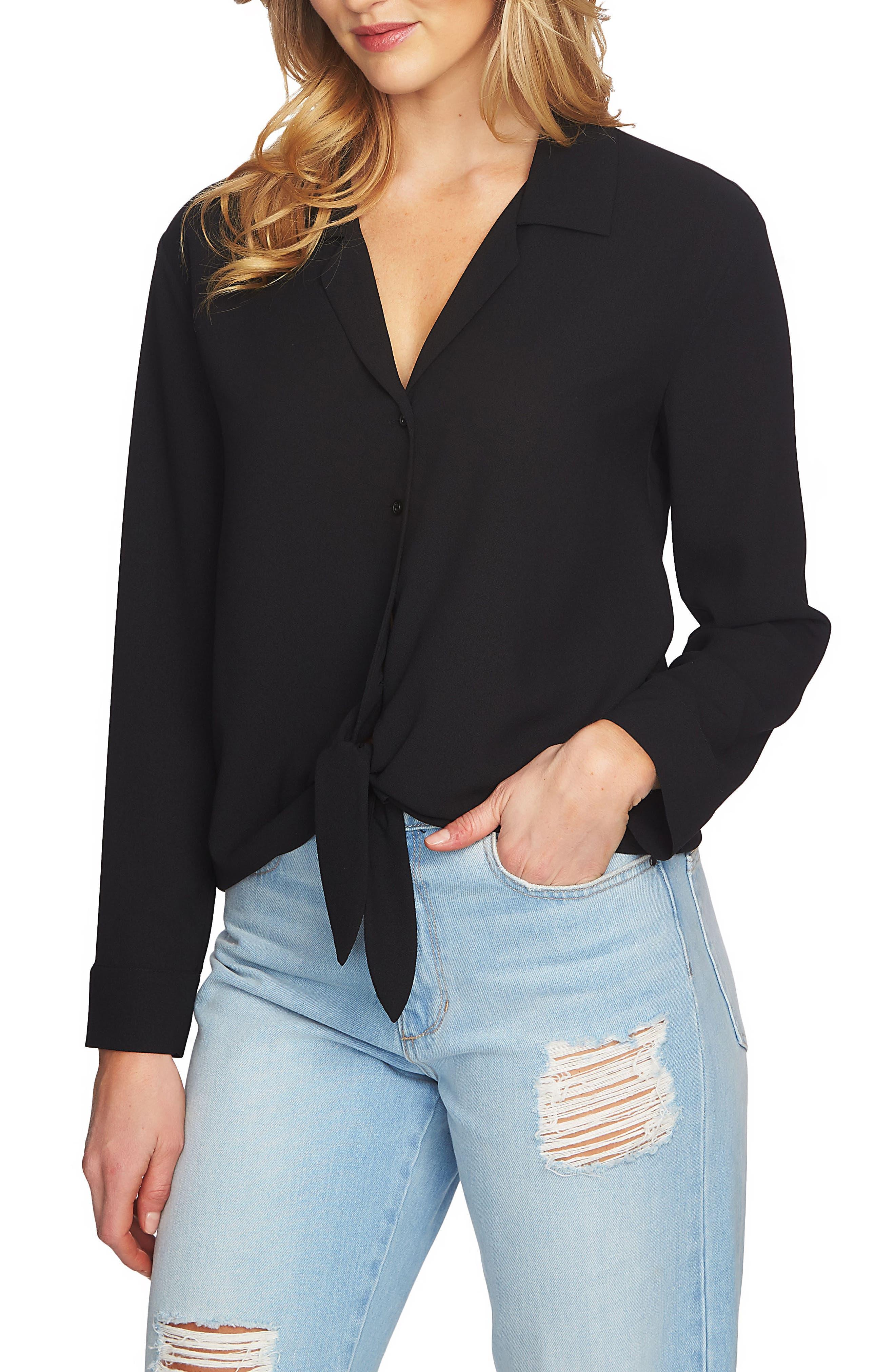 Tie Front Blouse,                         Main,                         color, RICH BLACK