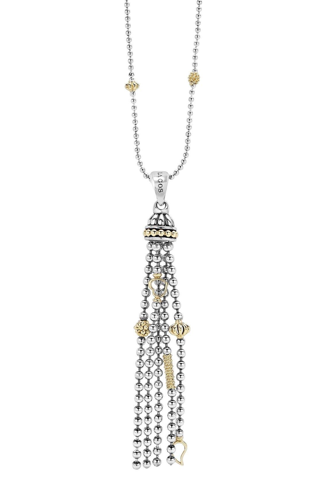 'Caviar Icon' Tassel Pendant Necklace,                             Alternate thumbnail 2, color,                             SILVER/ GOLD