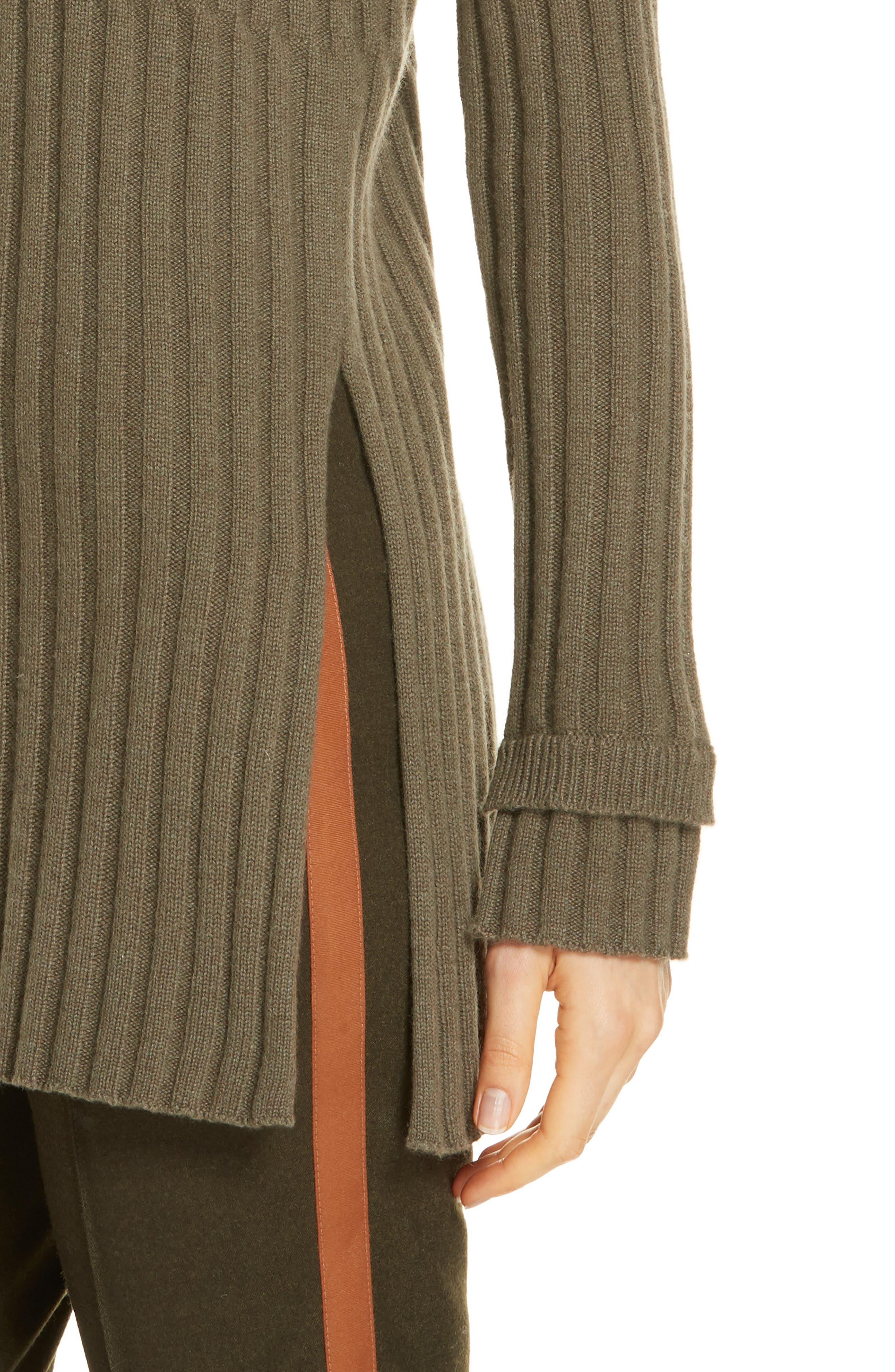 Rib Knit Cashmere Tunic,                             Alternate thumbnail 4, color,                             OLIVE IVY HEATHER