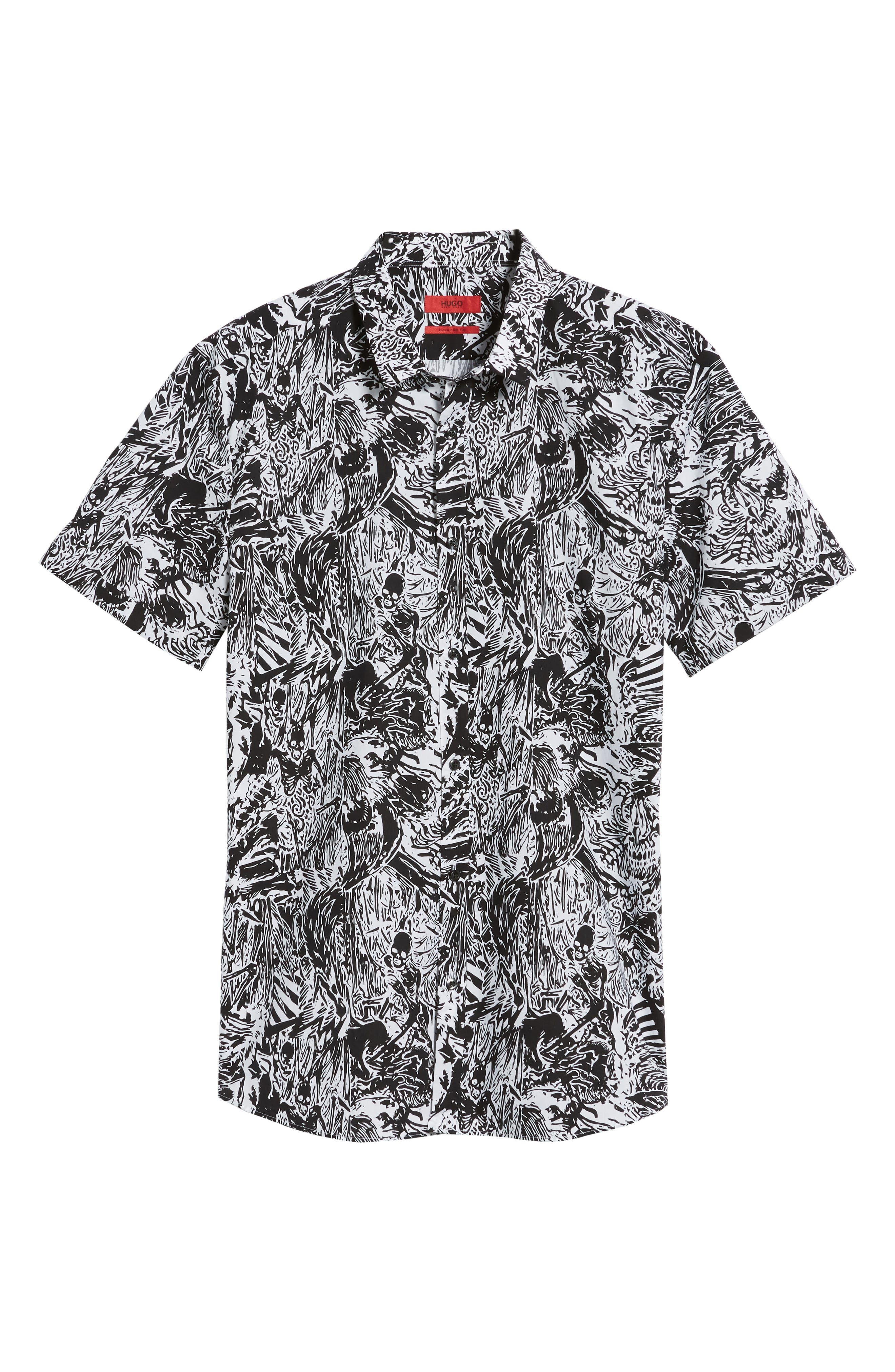 Empson Trim Fit Print Short Sleeve Sport Shirt,                             Alternate thumbnail 11, color,