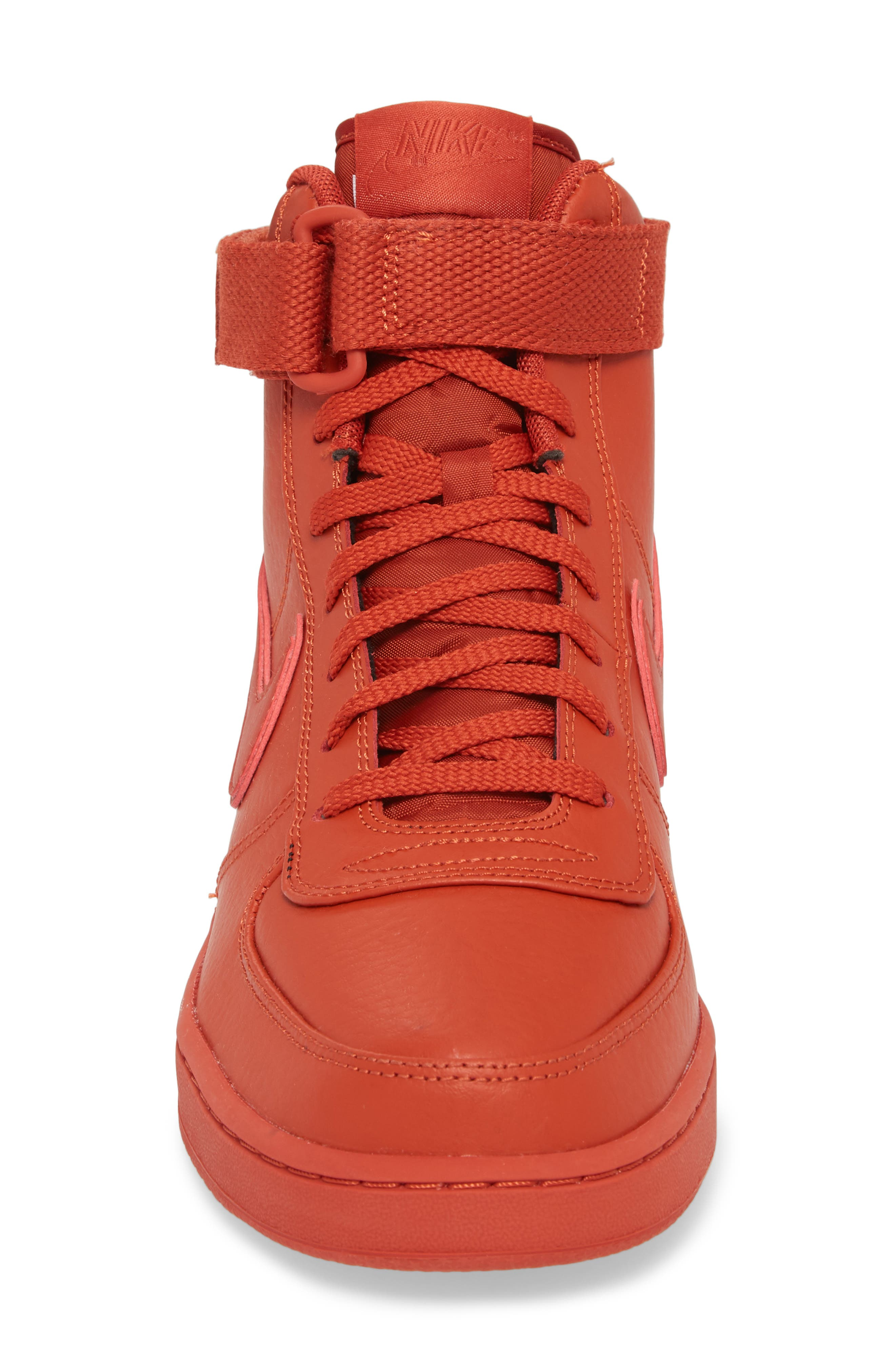 Vandal High Supreme Leather Sneaker,                             Alternate thumbnail 4, color,                             DRAGON RED