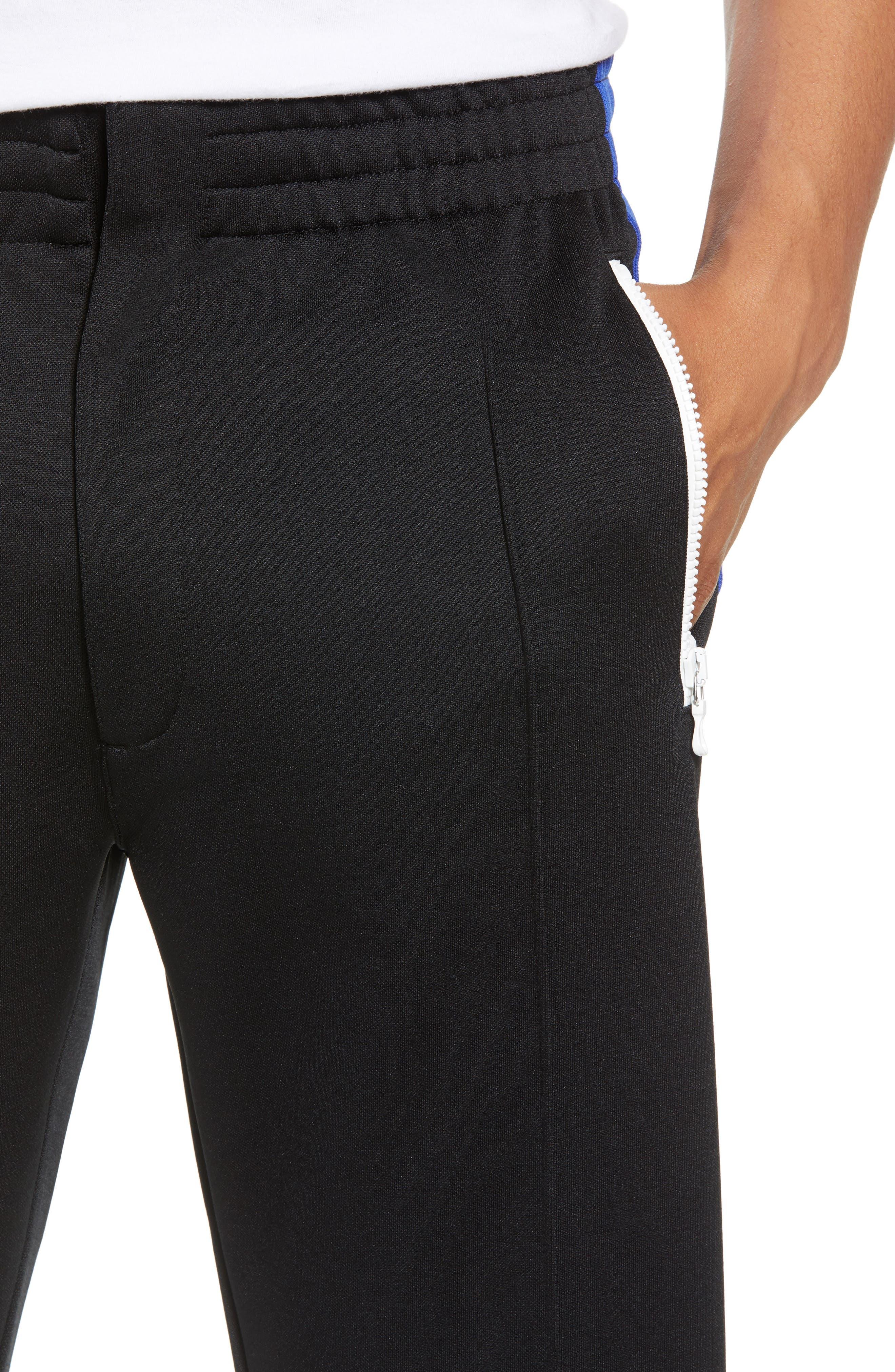 Stripe Track Pants,                             Alternate thumbnail 4, color,                             BLUE/ WHITE/ BLACK