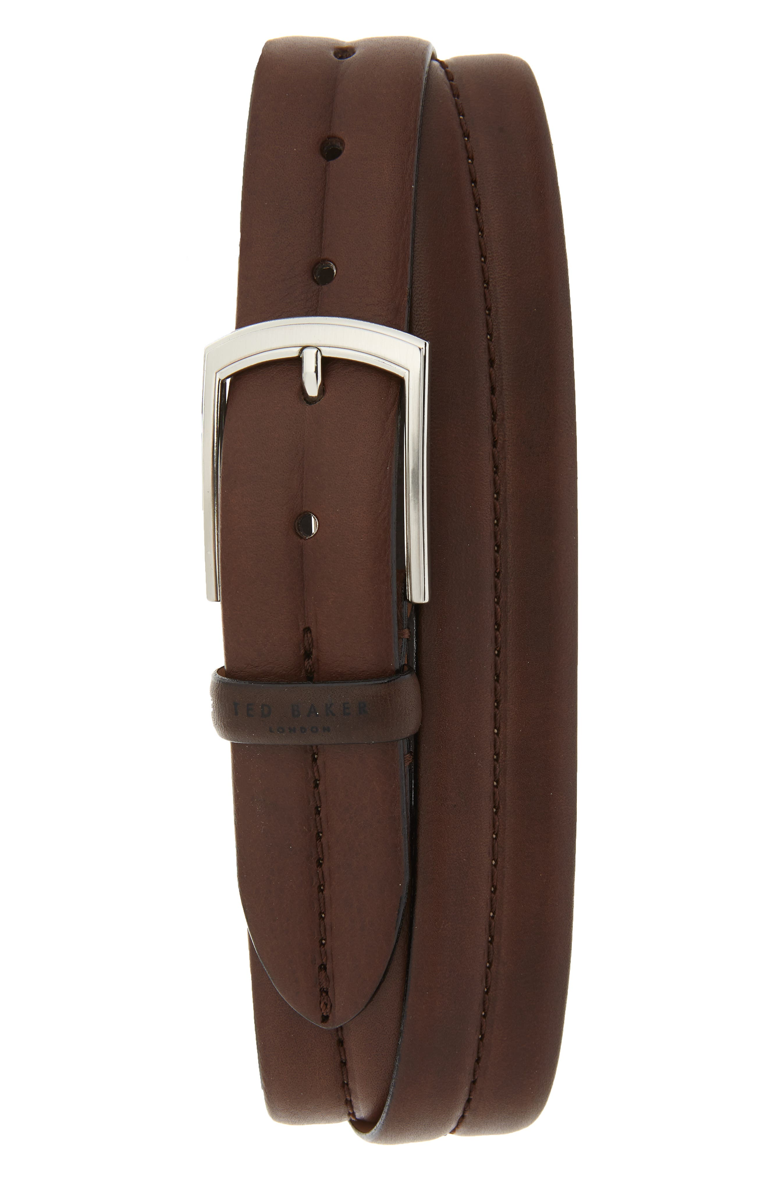 Ted Baker London Stitched Leather Belt, Chocolate