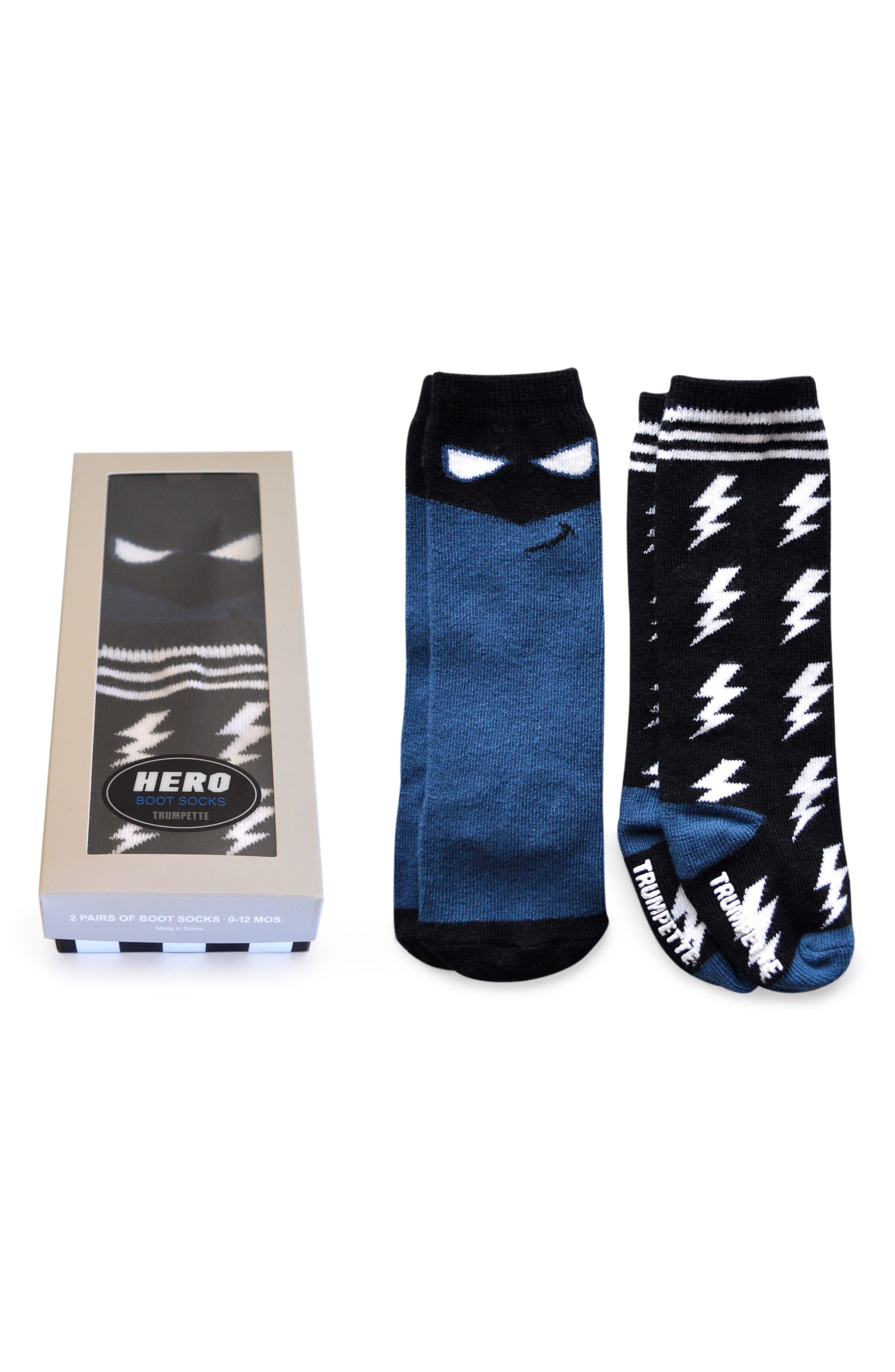Hero 2-Pack Boot Socks,                         Main,                         color, BLUE
