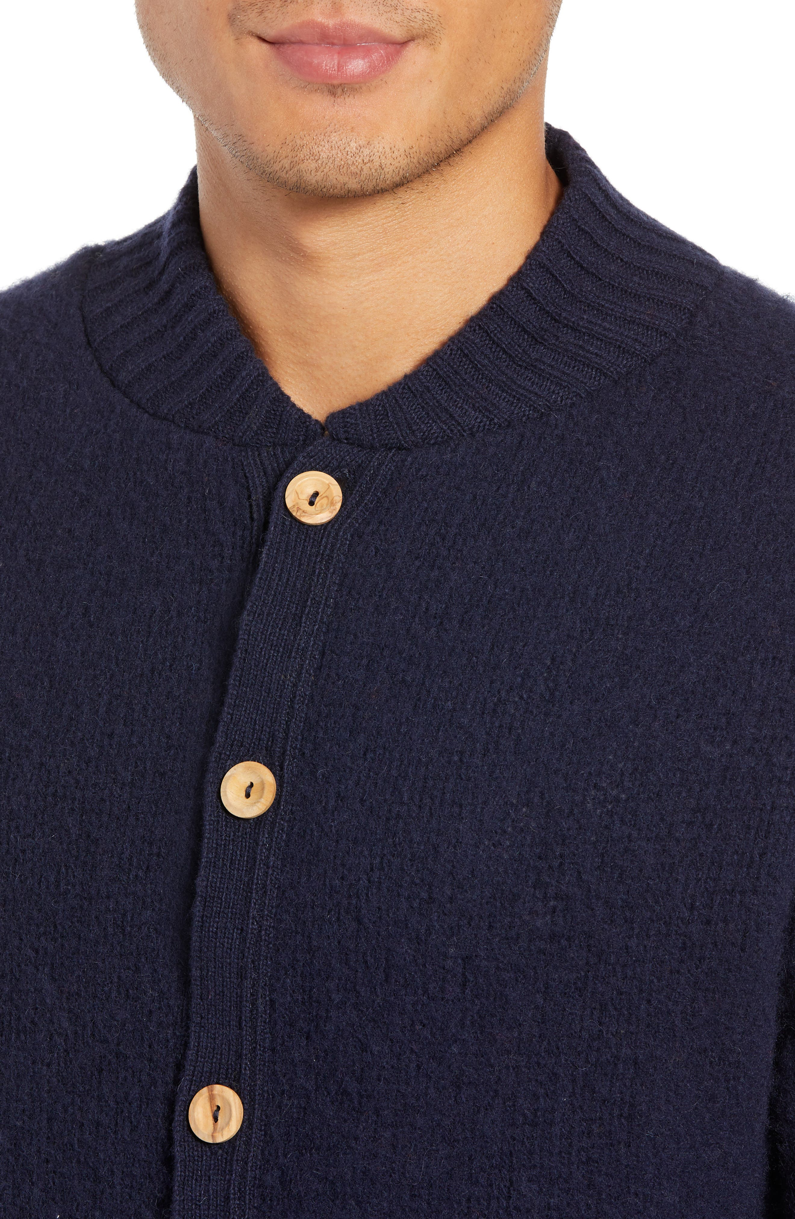 Baseball Cardy Wool Sweater,                             Alternate thumbnail 4, color,                             NAVY