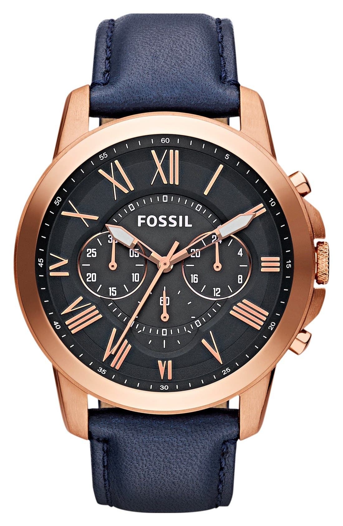 'Grant' Round Chronograph Leather Strap Watch, 44mm,                         Main,                         color, NAVY/ ROSE GOLD