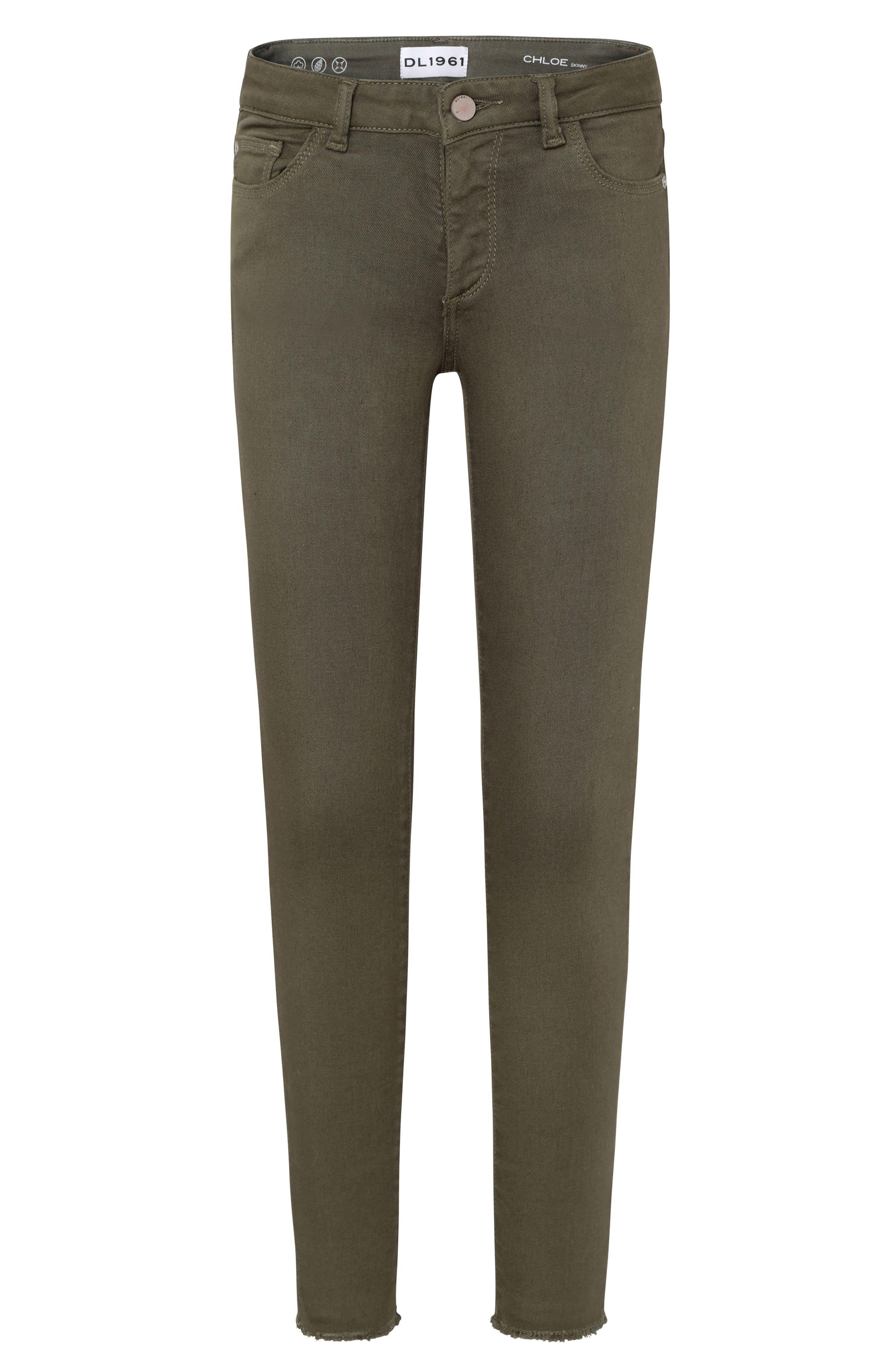 Raw Hem Skinny Jeans,                             Main thumbnail 1, color,                             CAMO GREEN