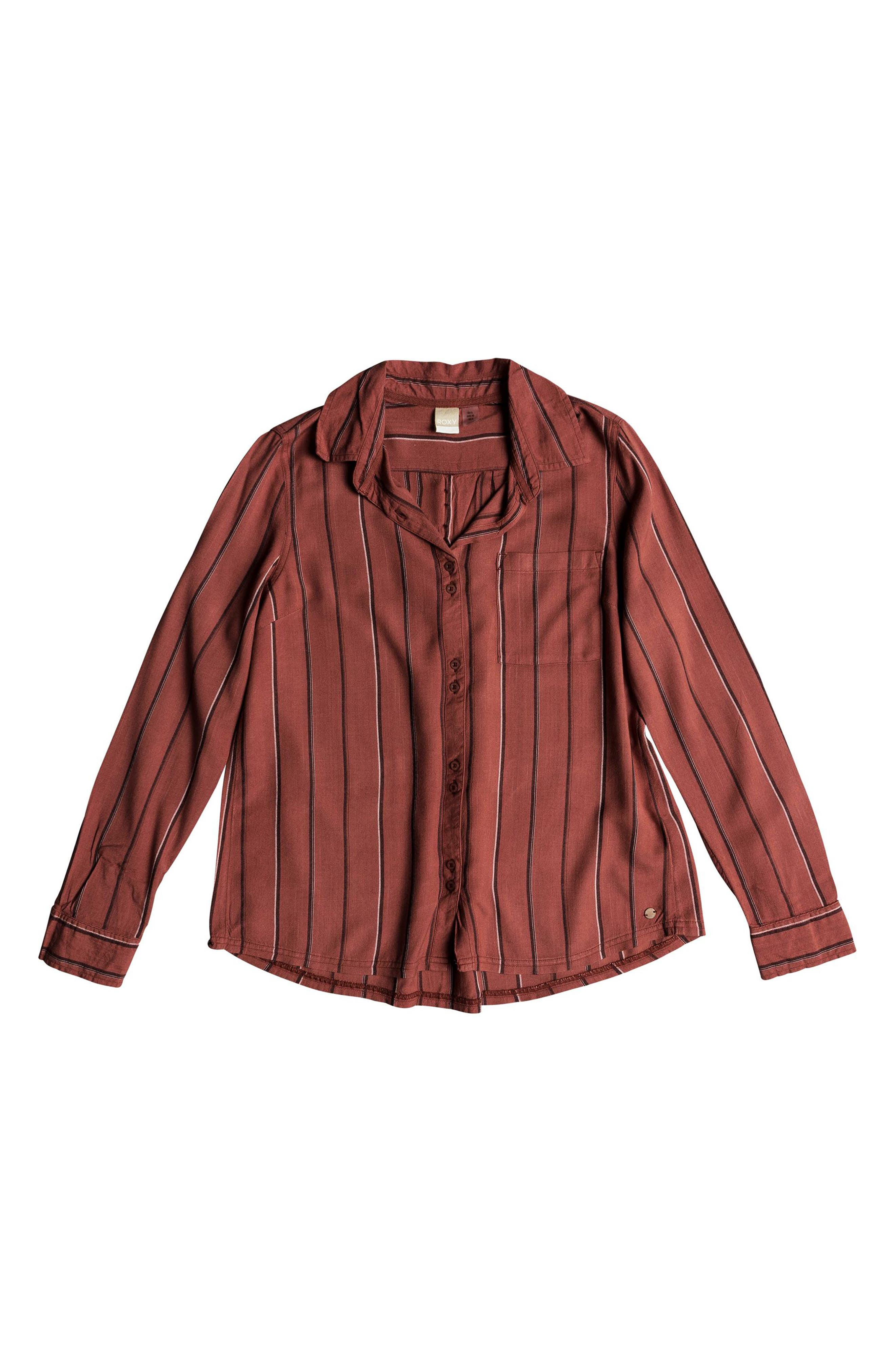 Concrete Streets Stripe Shirt,                             Alternate thumbnail 4, color,                             WITHERED ROSE