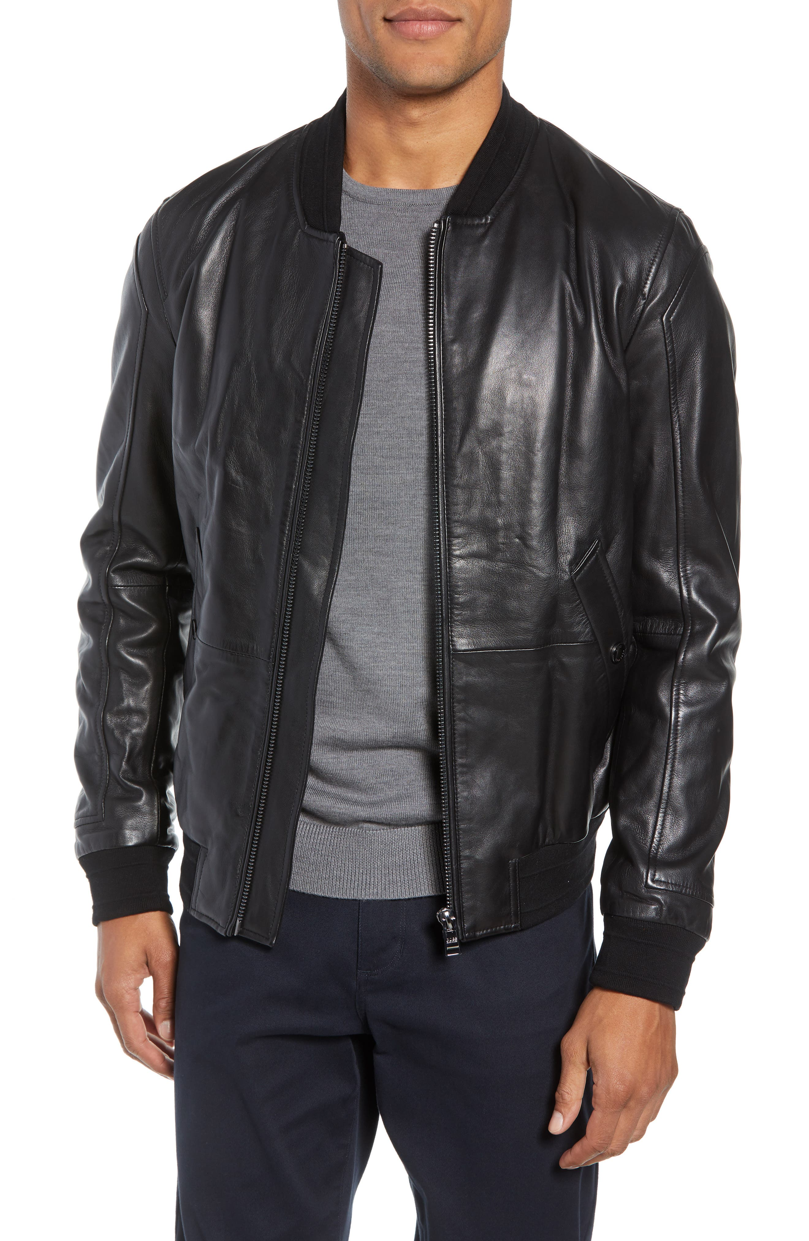 Arinos Leather Bomber Jacket,                             Main thumbnail 1, color,                             BLACK