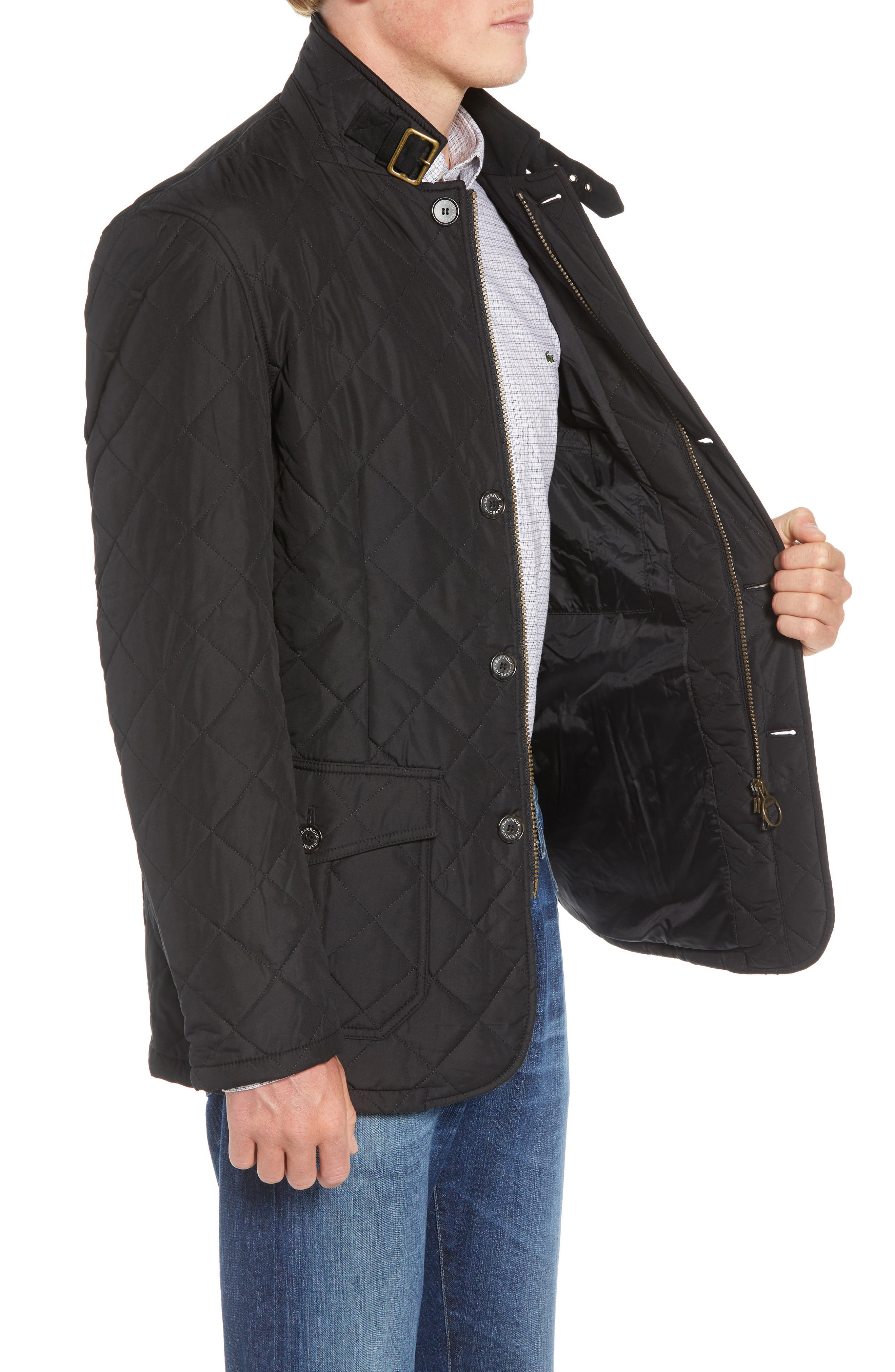 BARBOUR,                             Lutz Quilted Jacket,                             Alternate thumbnail 4, color,                             BLACK