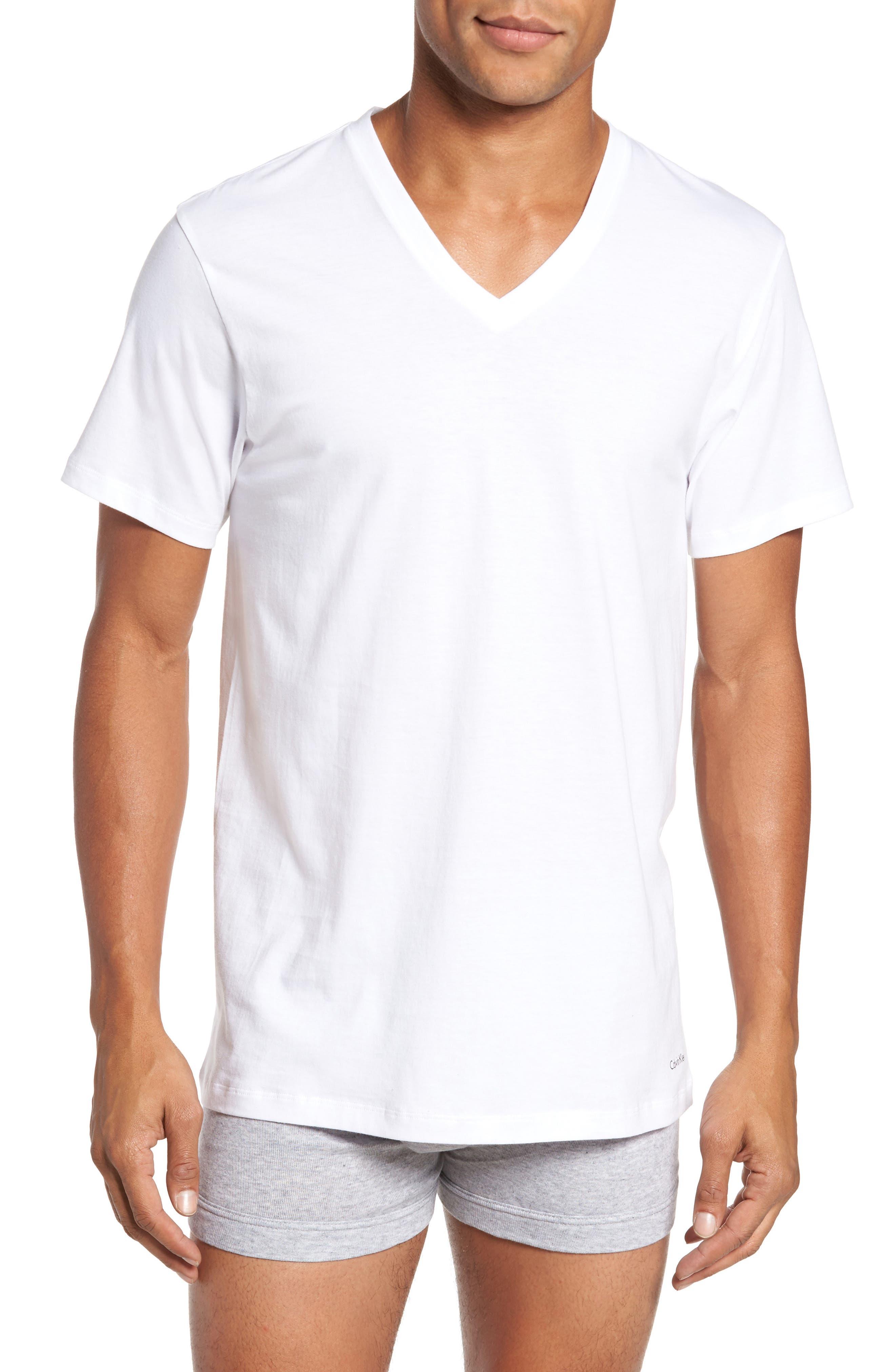 4-Pack V-Neck T-Shirt,                         Main,                         color, WHITE