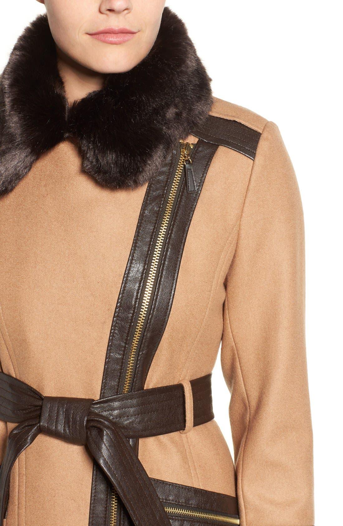 Faux Leather & Faux Fur Trim Belted Wool Blend Coat,                             Alternate thumbnail 30, color,