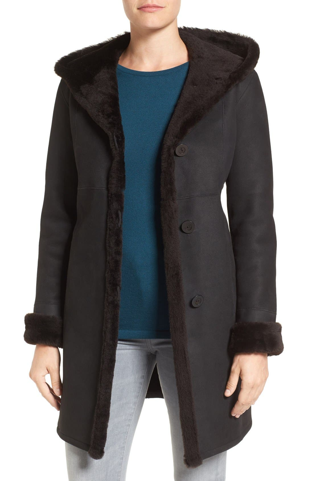 Fitted Genuine Shearling Coat,                             Main thumbnail 1, color,