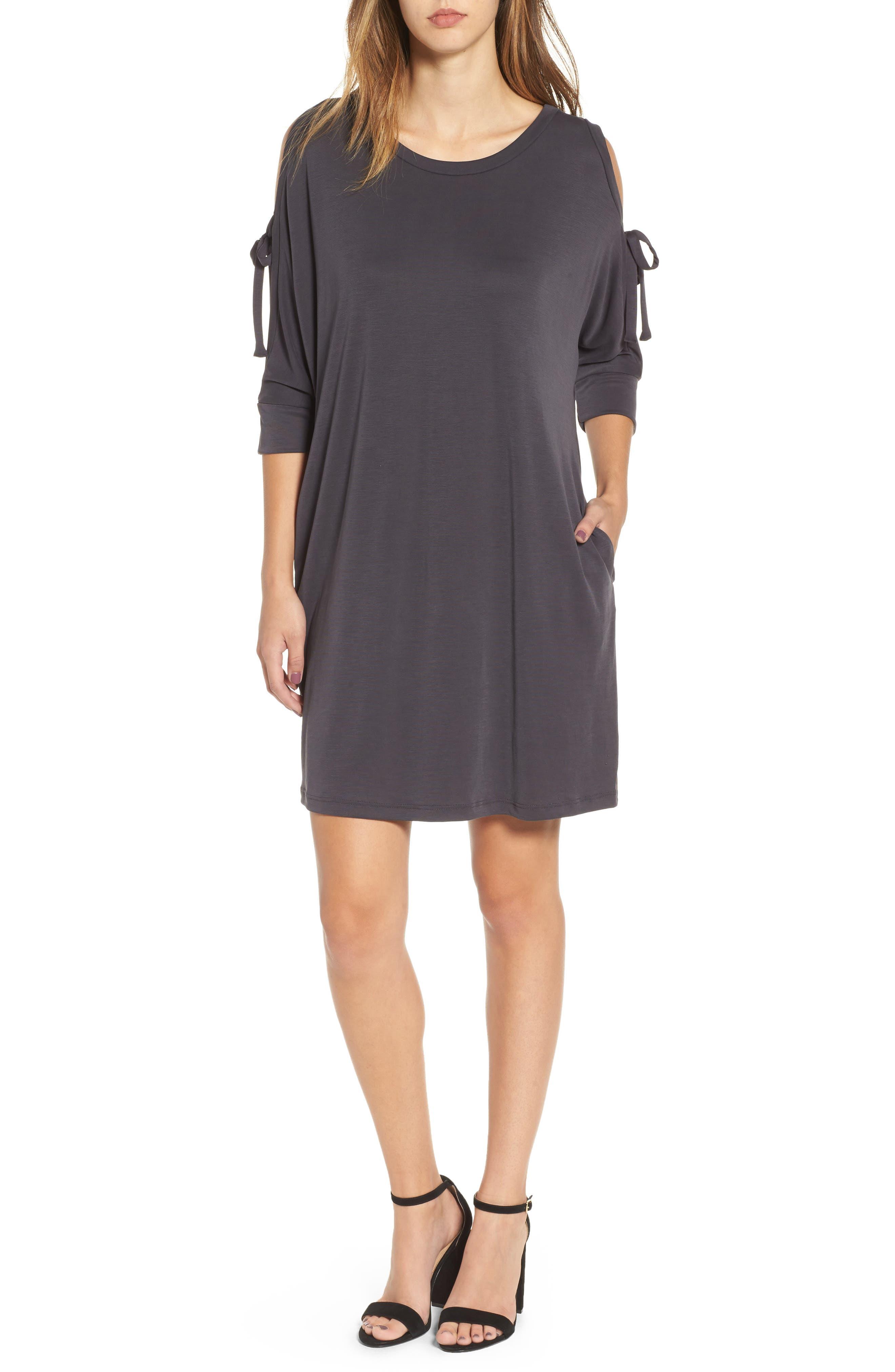 Tied Cold Shoulder Dress,                         Main,                         color,