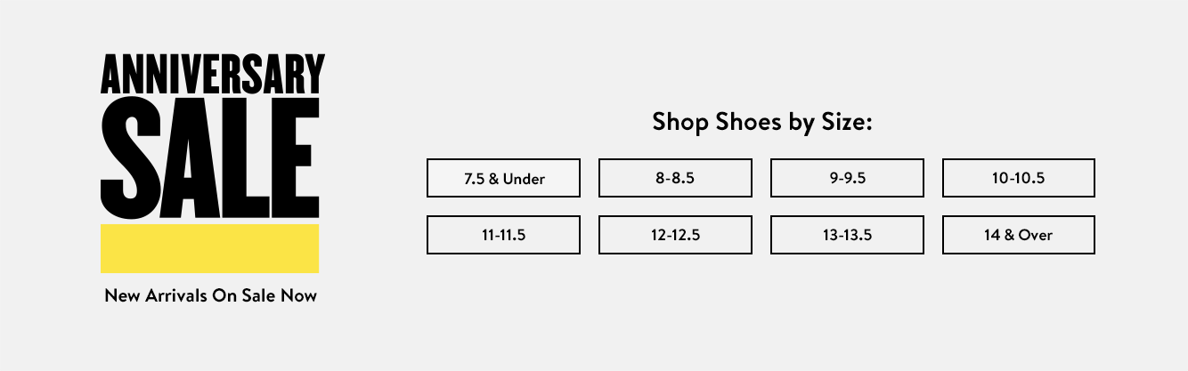 Men's shoes shop by size.