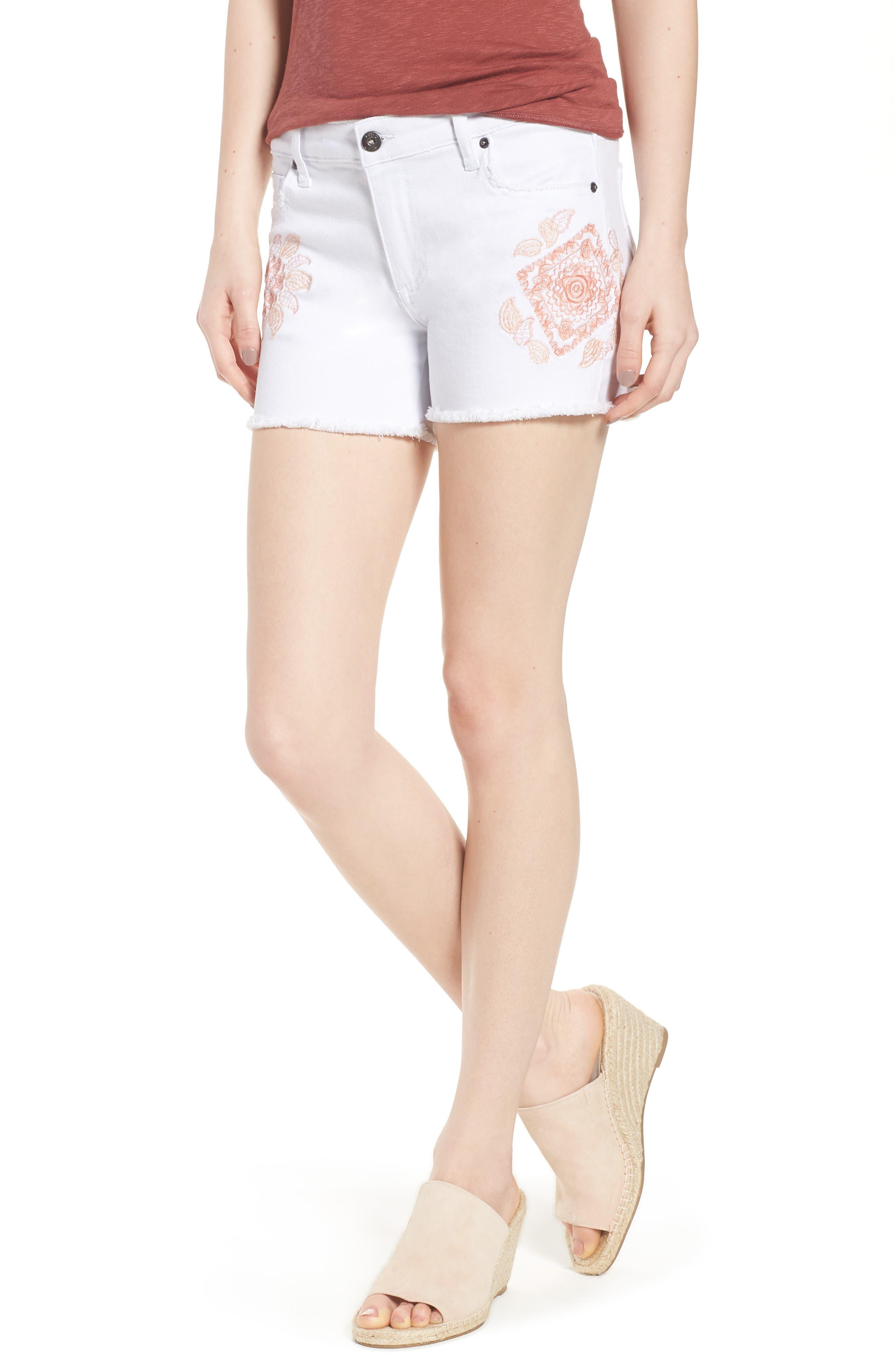 Embroidered Denim Shorts,                             Main thumbnail 1, color,                             100