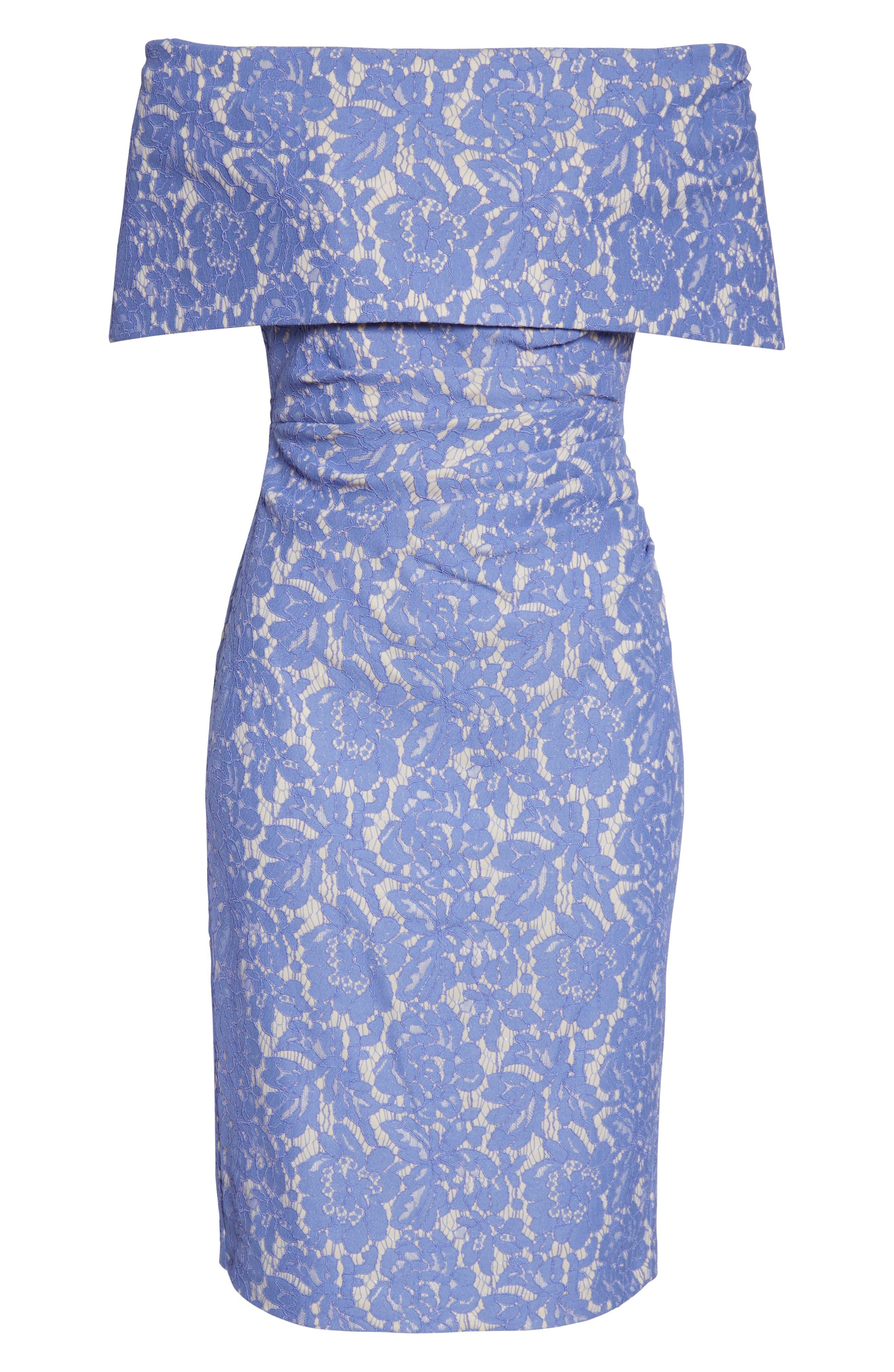 VINCE CAMUTO,                             Off the Shoulder Lace Sheath Dress,                             Alternate thumbnail 7, color,                             PERIWINKLE