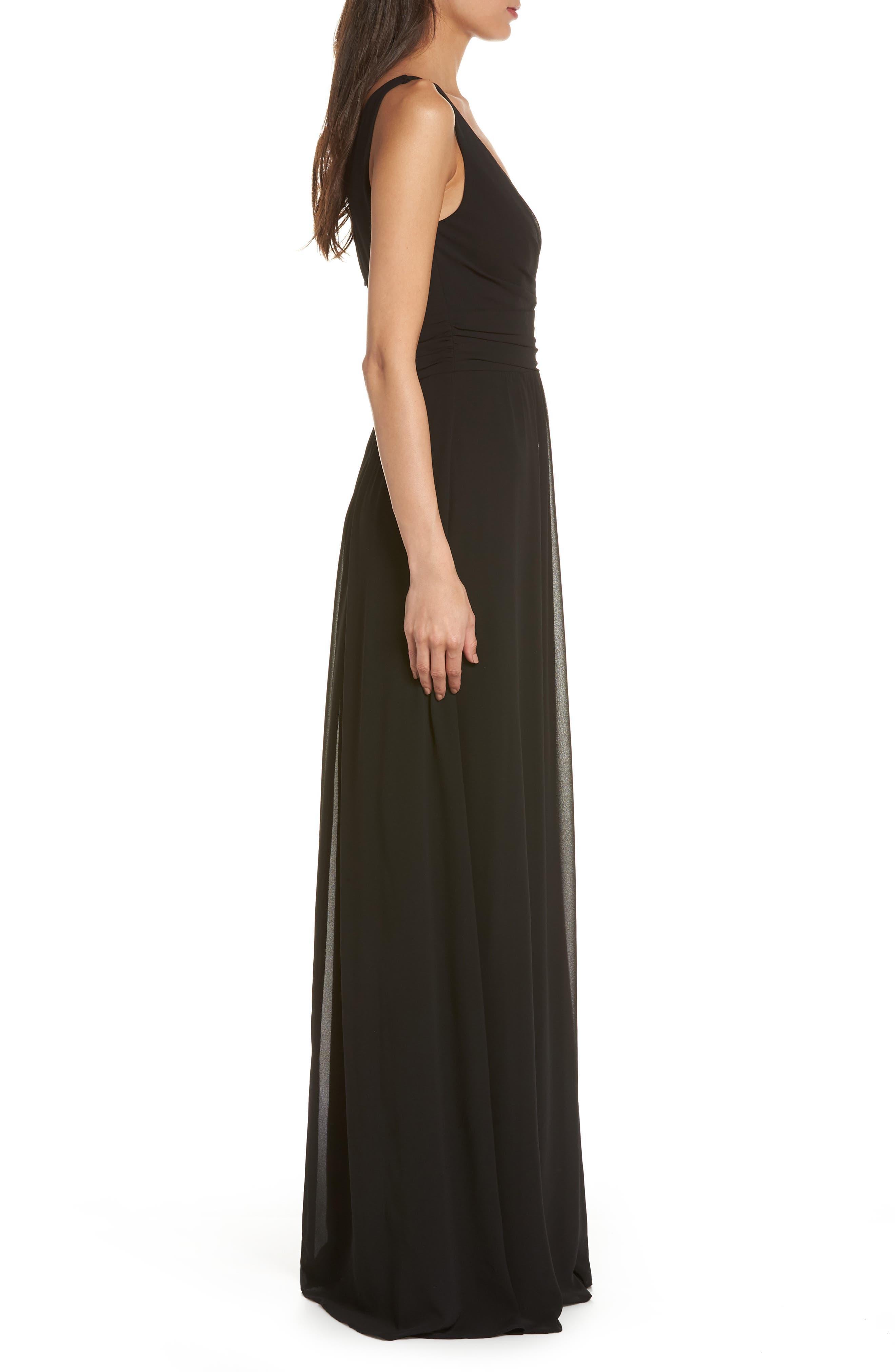 V-Neck Chiffon Gown,                             Alternate thumbnail 3, color,                             BLACK