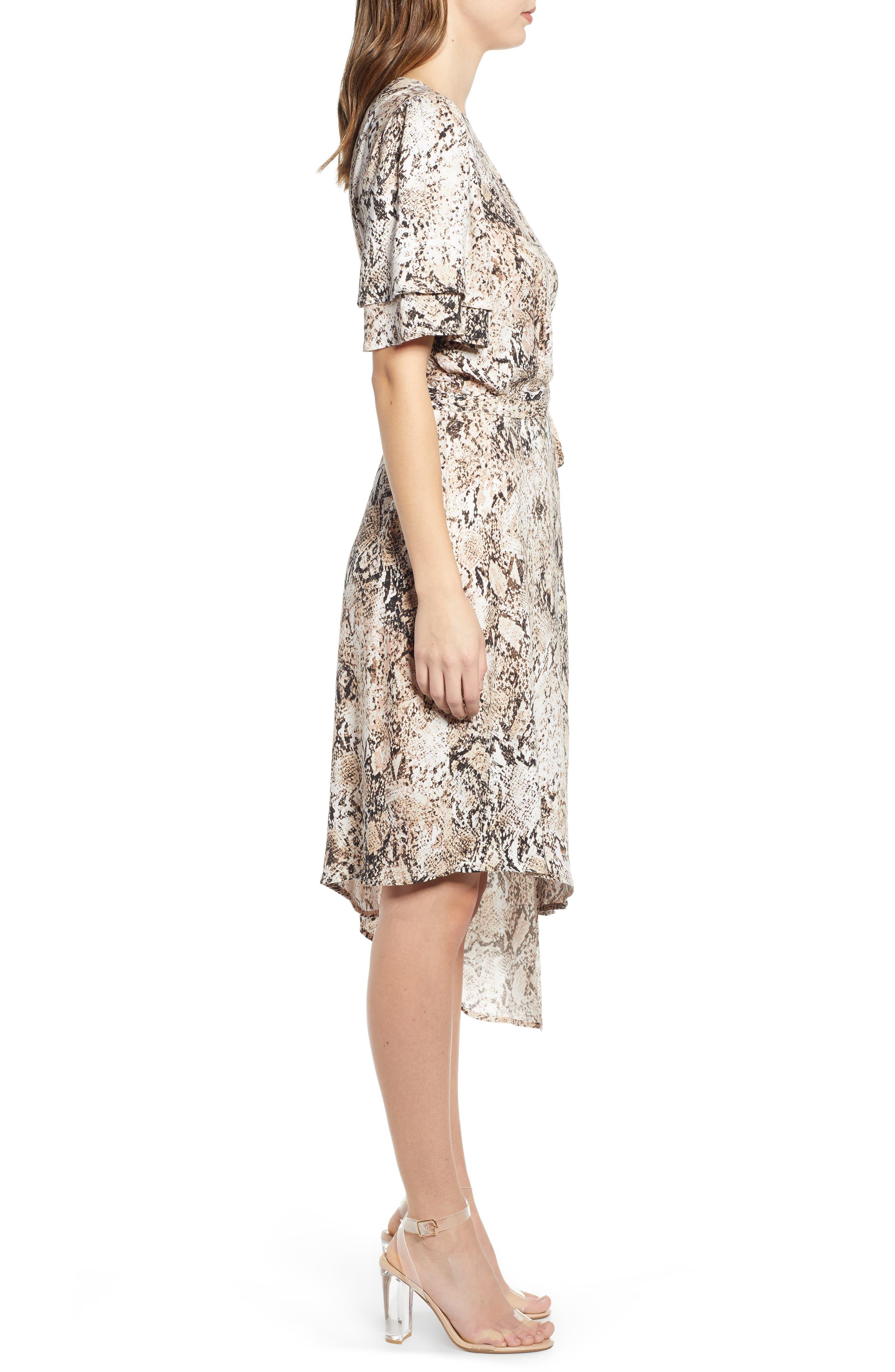 LEITH,                             Ruffle Sleeve Wrap Dress,                             Alternate thumbnail 3, color,                             IVORY SNAKE PRINT