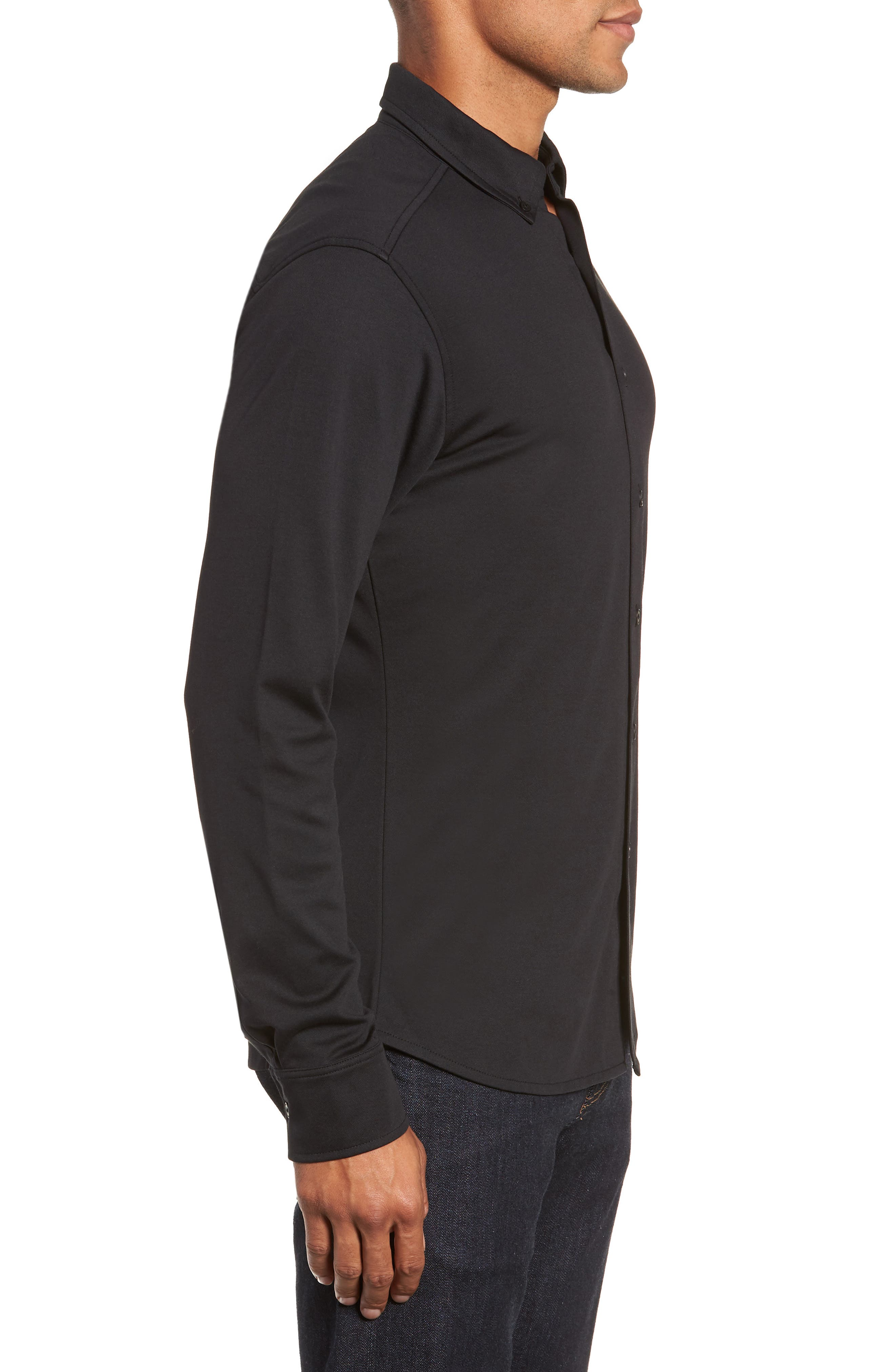 Slim Fit Button Down Collar Sport Shirt,                             Alternate thumbnail 4, color,                             BLACK