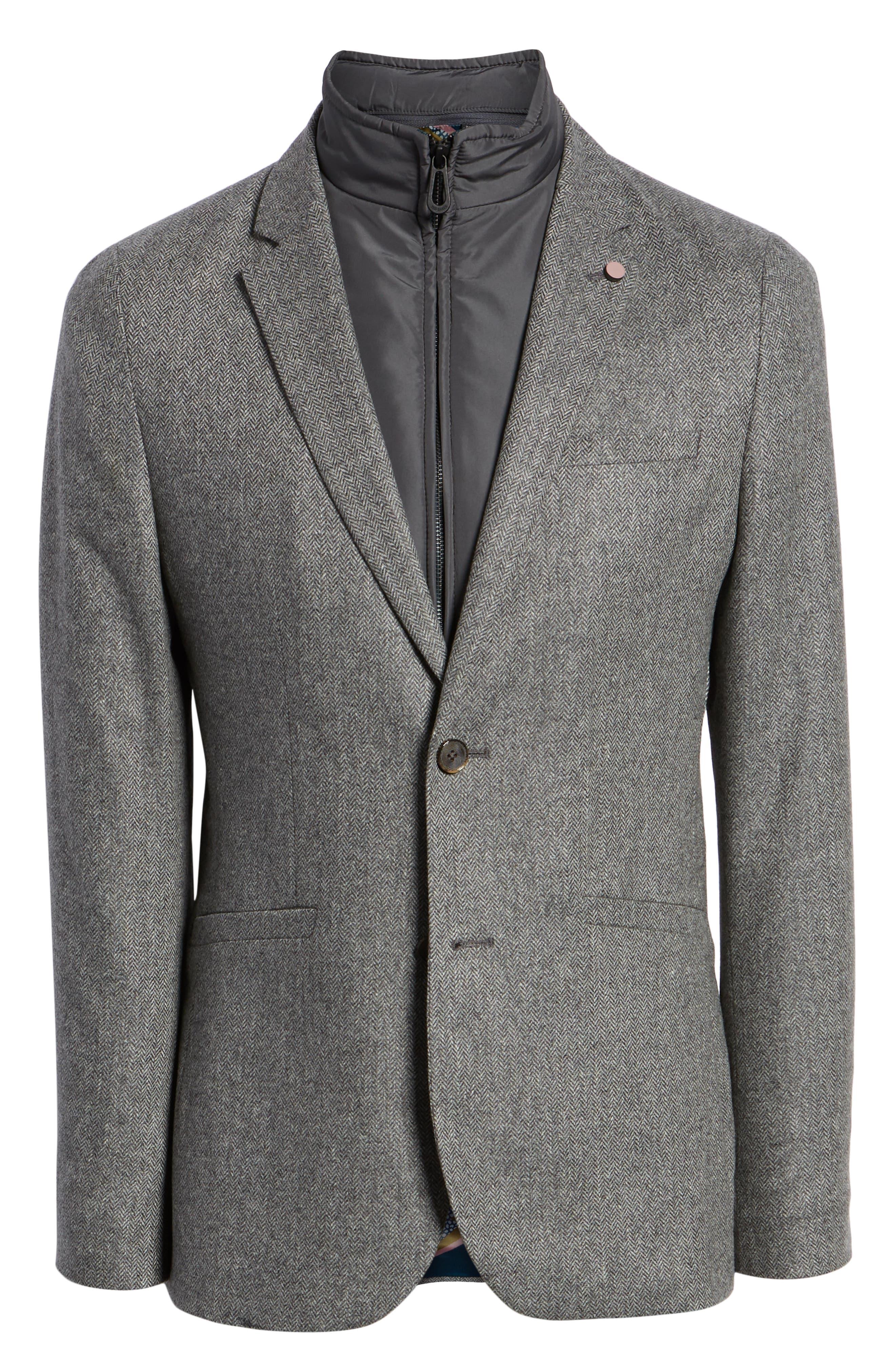Dual Look Herringbone Jacket,                             Alternate thumbnail 5, color,                             LIGHT GREY