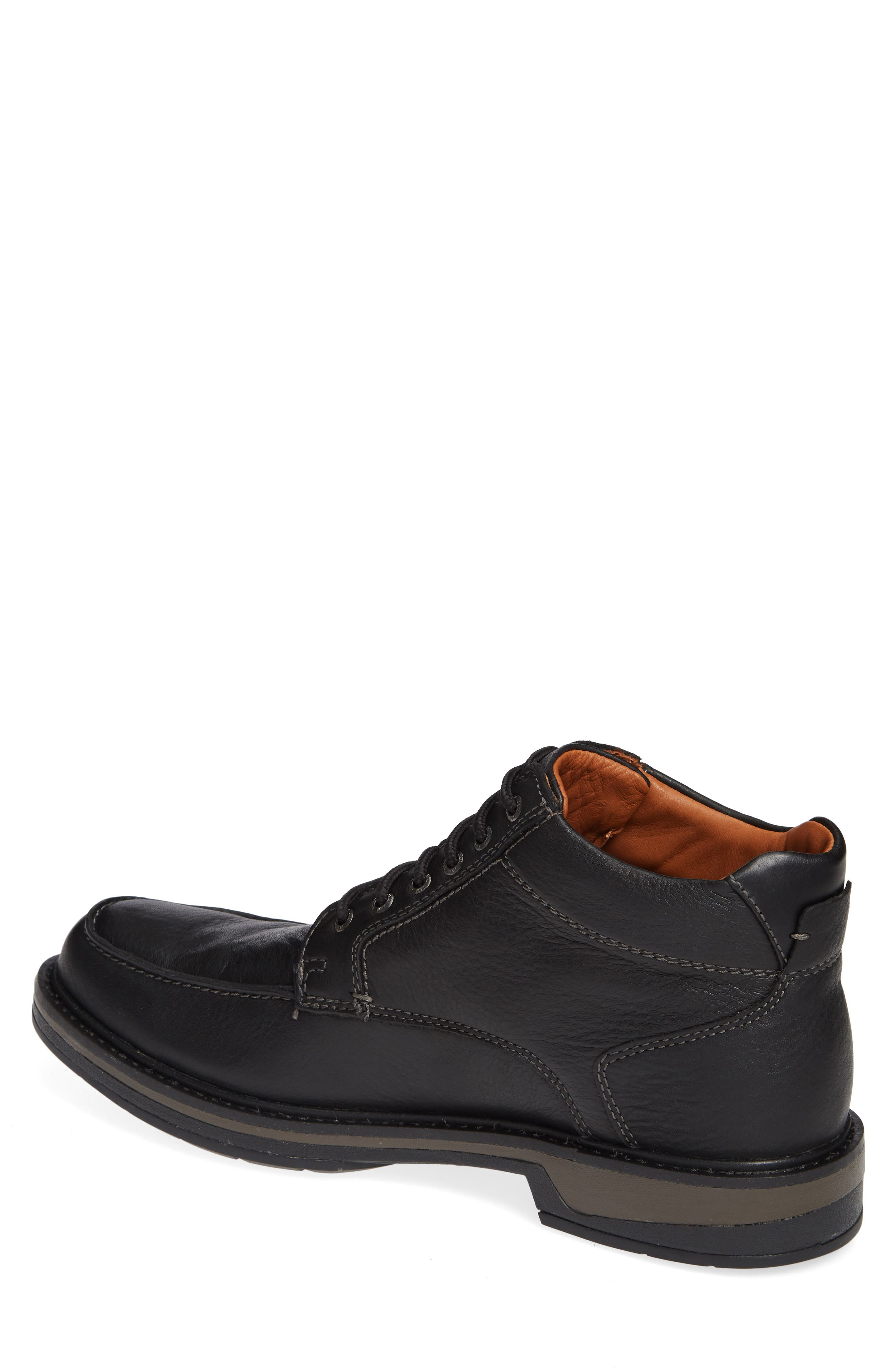 Rutledge Waterproof Moc Toe Boot,                             Alternate thumbnail 2, color,                             BLACK LEATHER