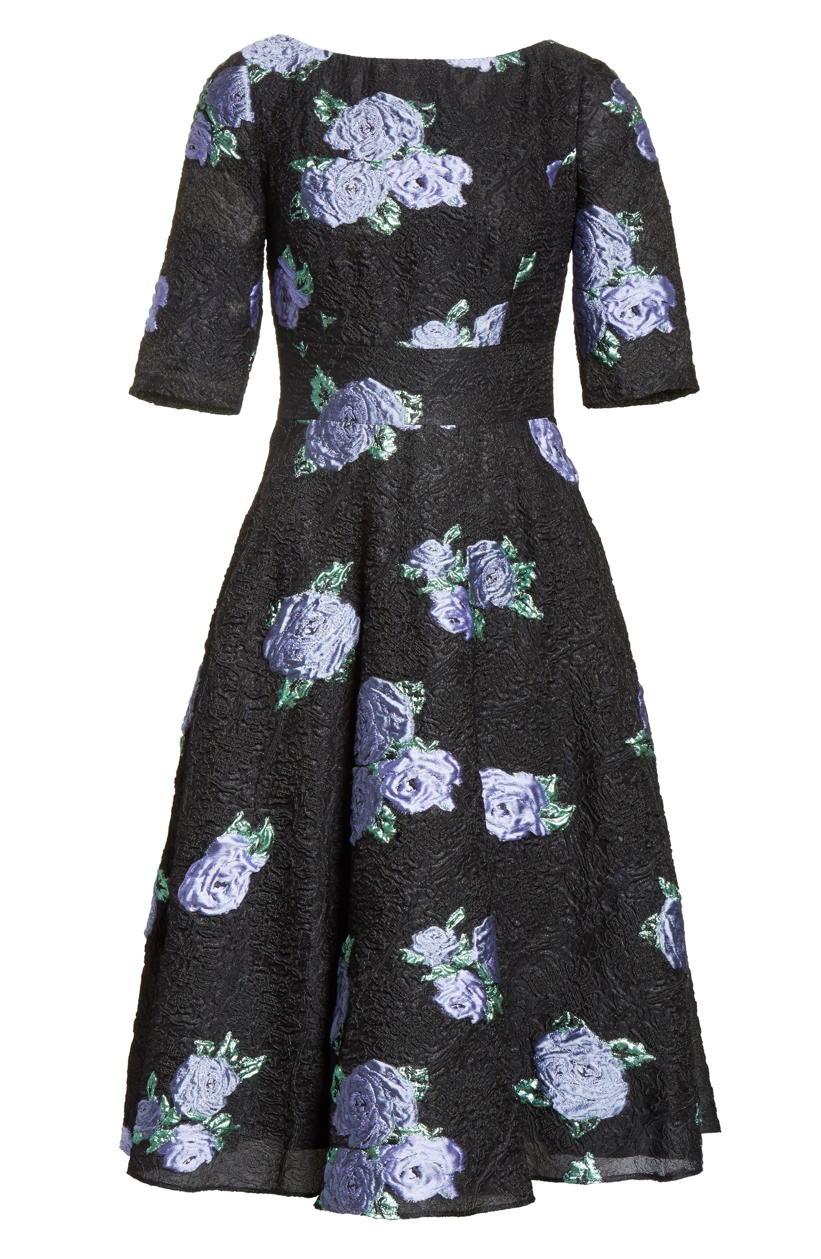 Floral Matelassé Fit & Flare Dress,                             Alternate thumbnail 6, color,                             970