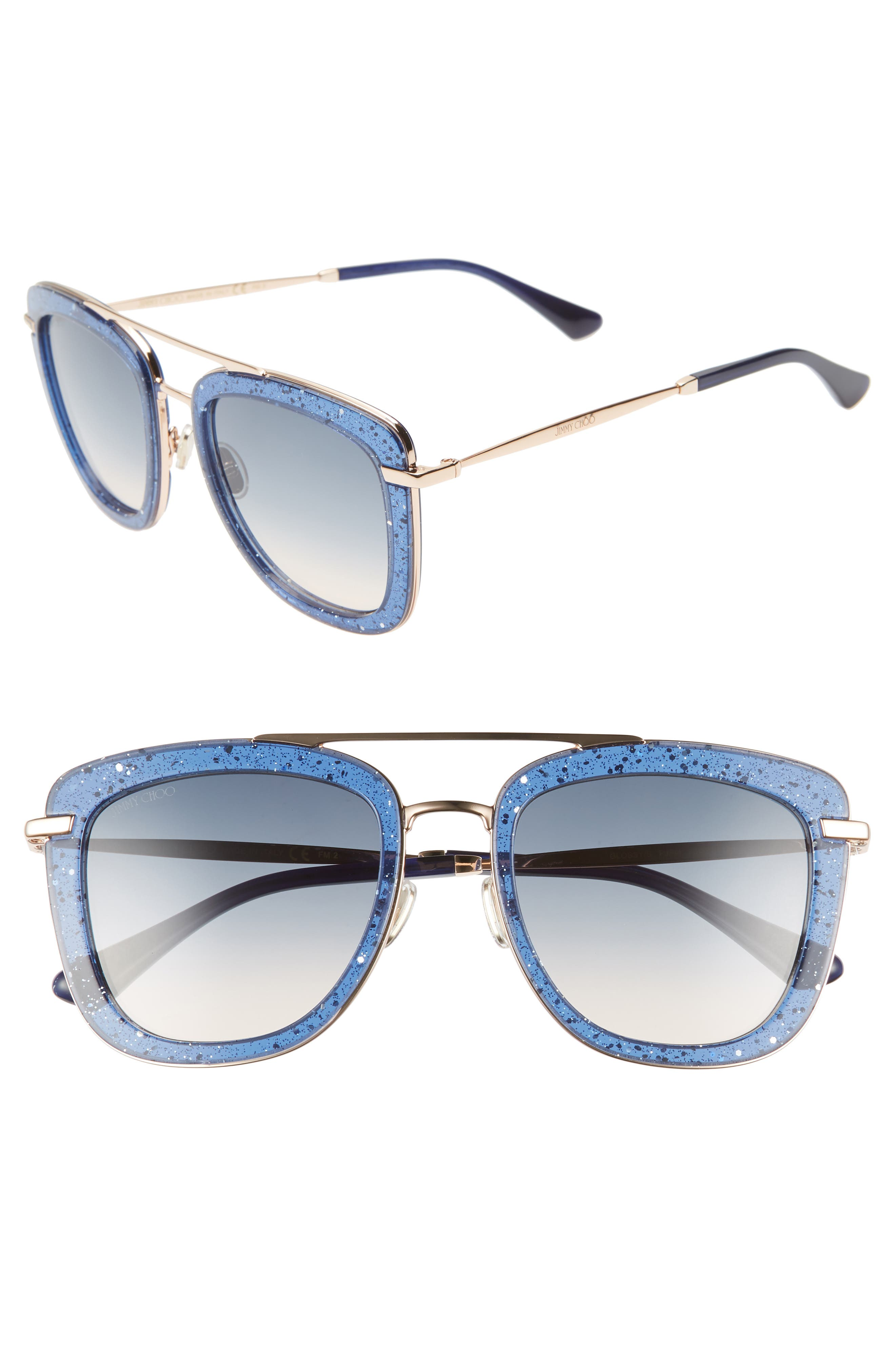 Jimmy Choo Glossy 5m Square Sunglasses - Blue