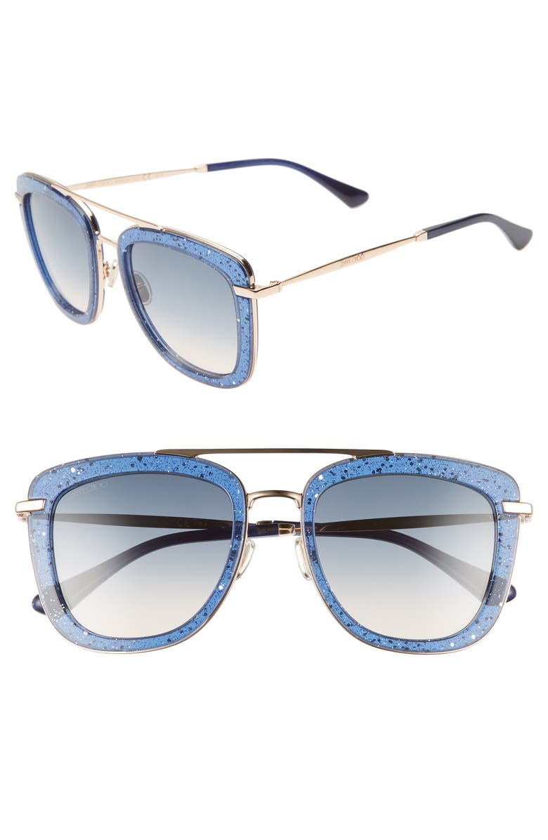 0be17b286637 Glitter-infused frames amplify the modern glamour of these Italian-crafted  sunglasses. Style Name  Jimmy Choo Glossy 53Mm Square Sunglasses.