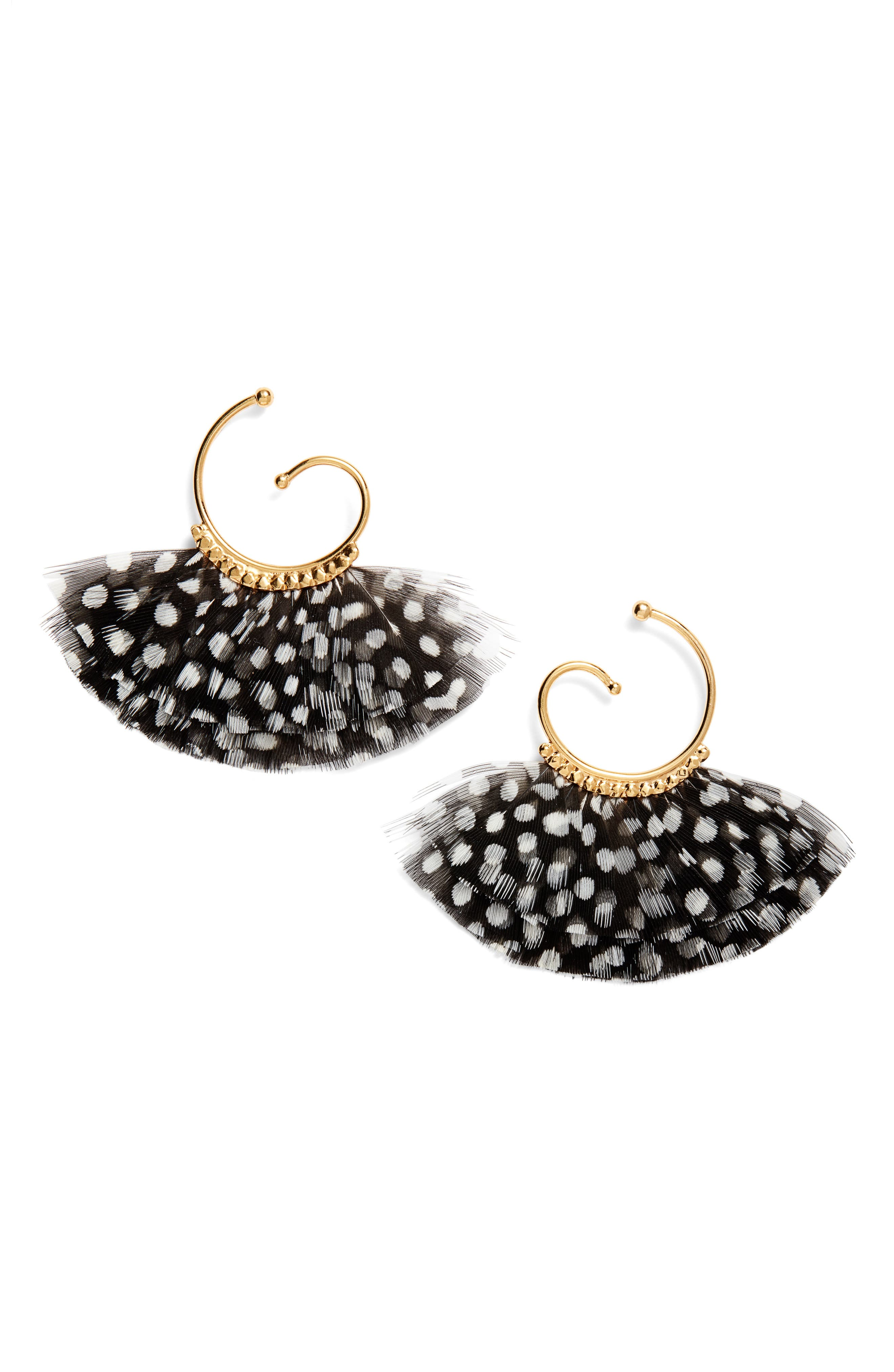 Buzios Feather Hoop Earrings,                             Main thumbnail 1, color,                             BLACK
