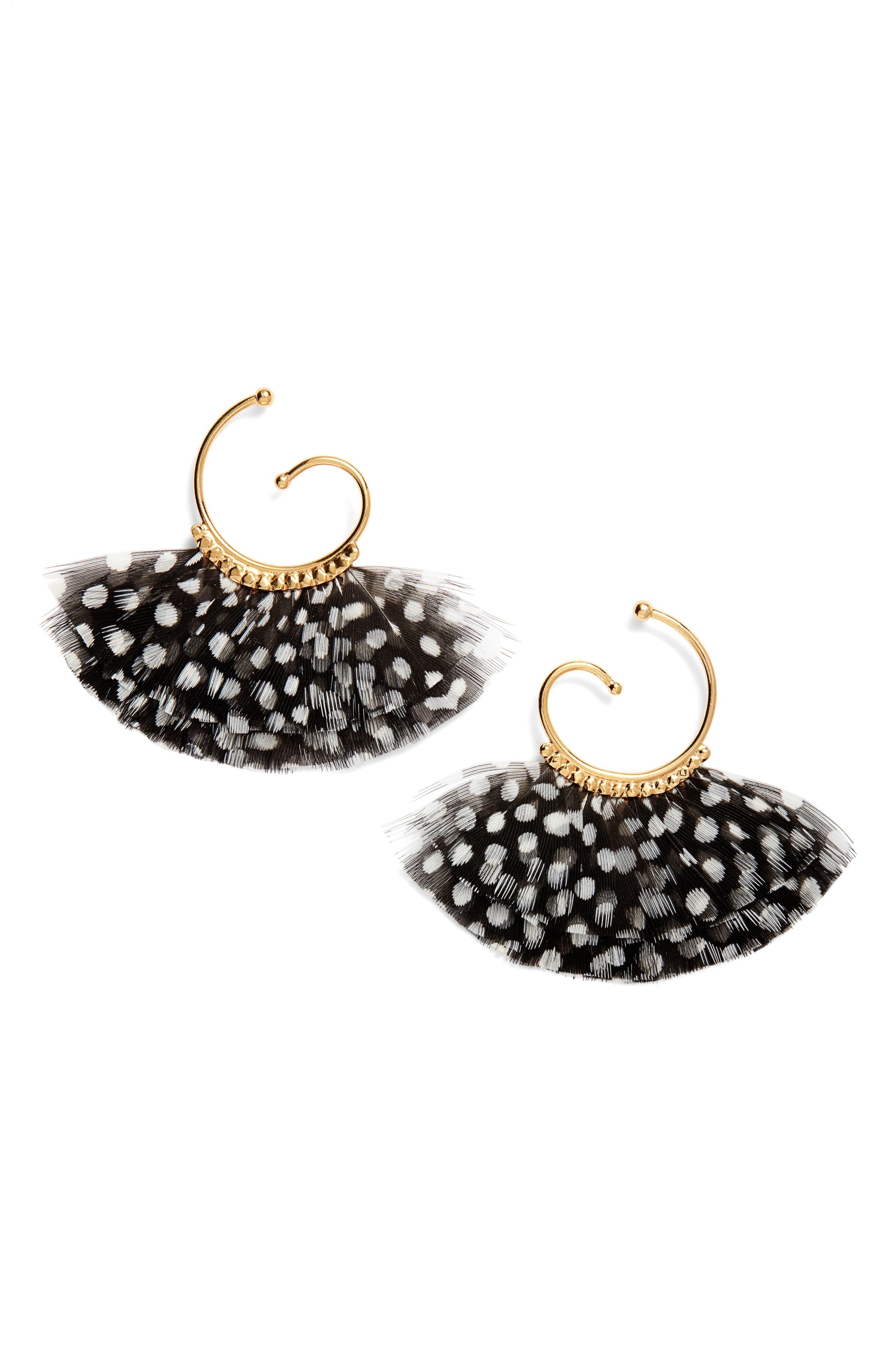 Buzios Feather Hoop Earrings,                         Main,                         color, BLACK