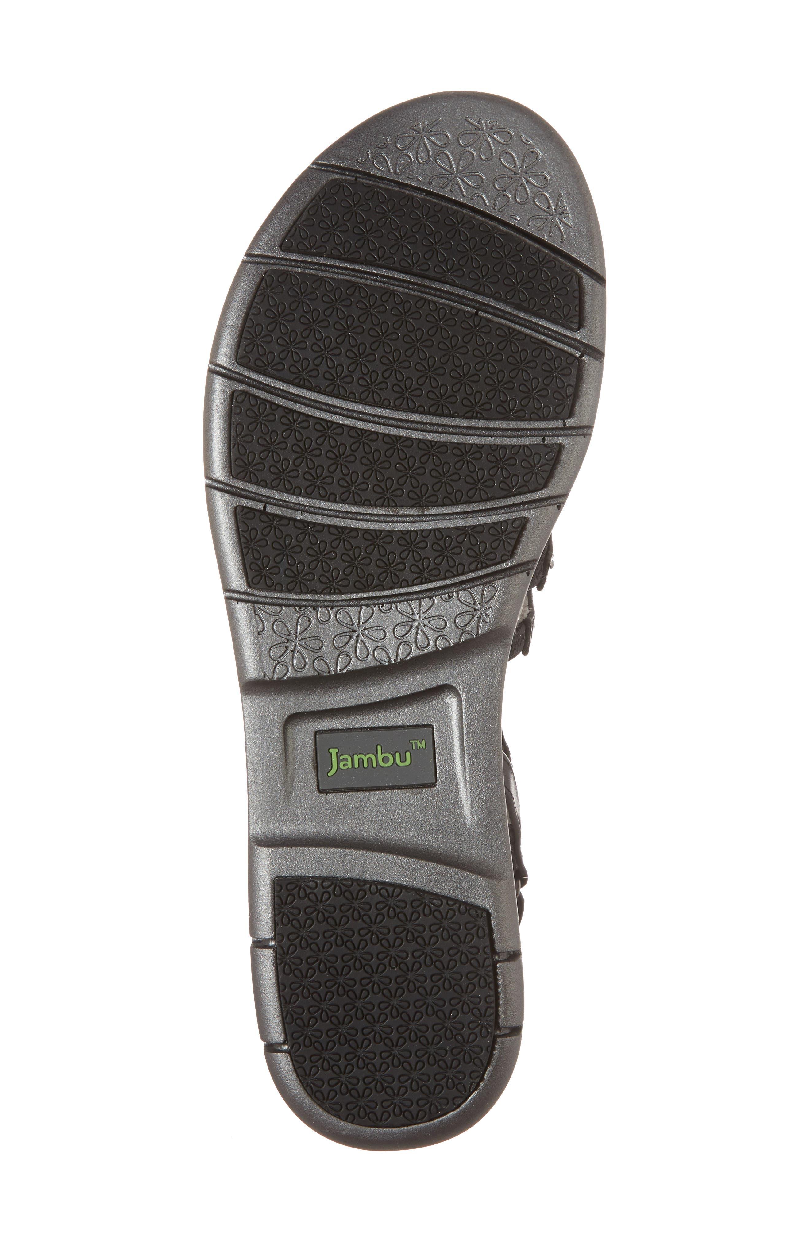 Elegance Studded Strappy Sandal,                             Alternate thumbnail 6, color,                             BLACK LEATHER