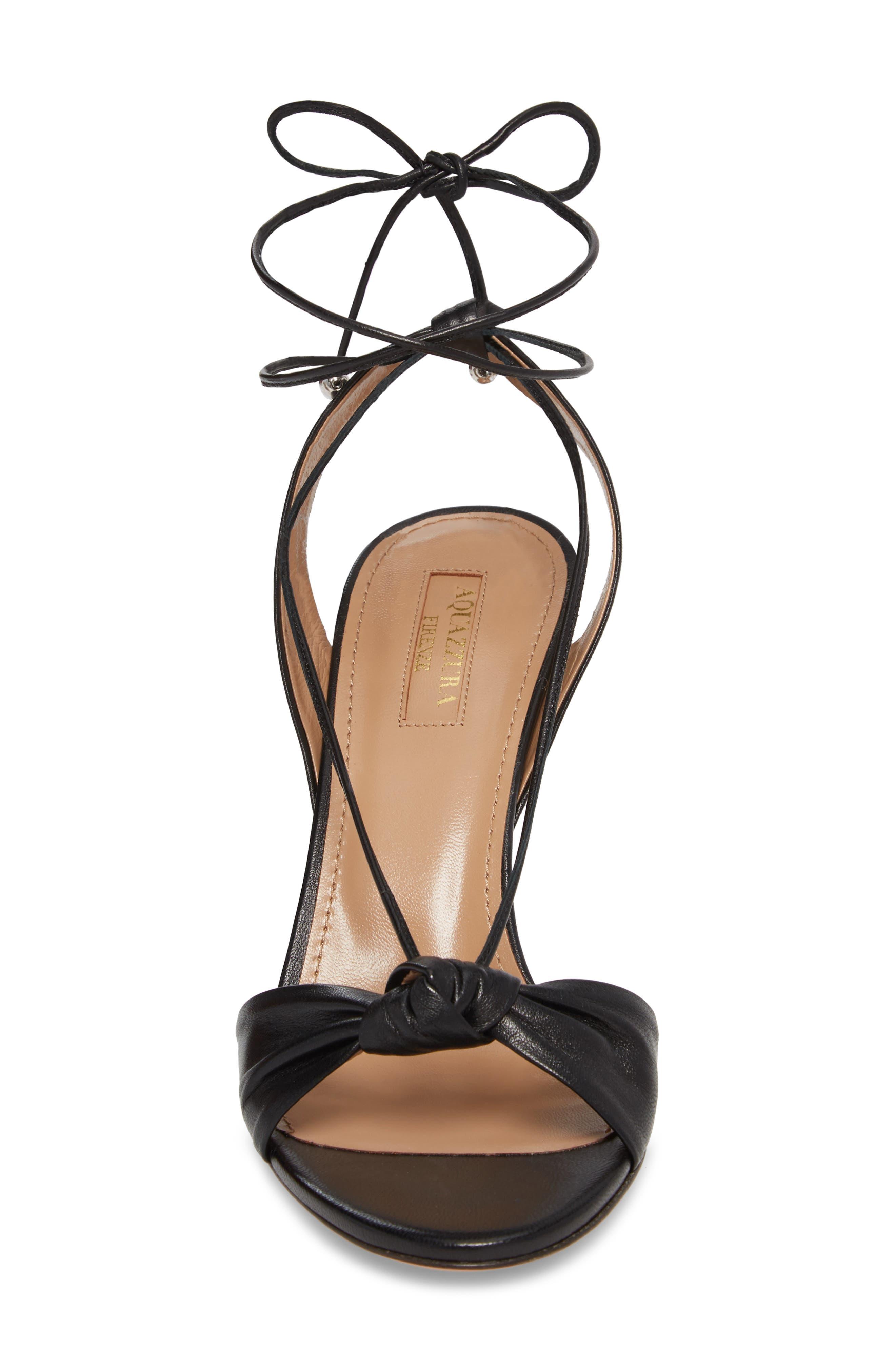 Virginie Lace-Up Sandal,                             Alternate thumbnail 4, color,                             BLACK