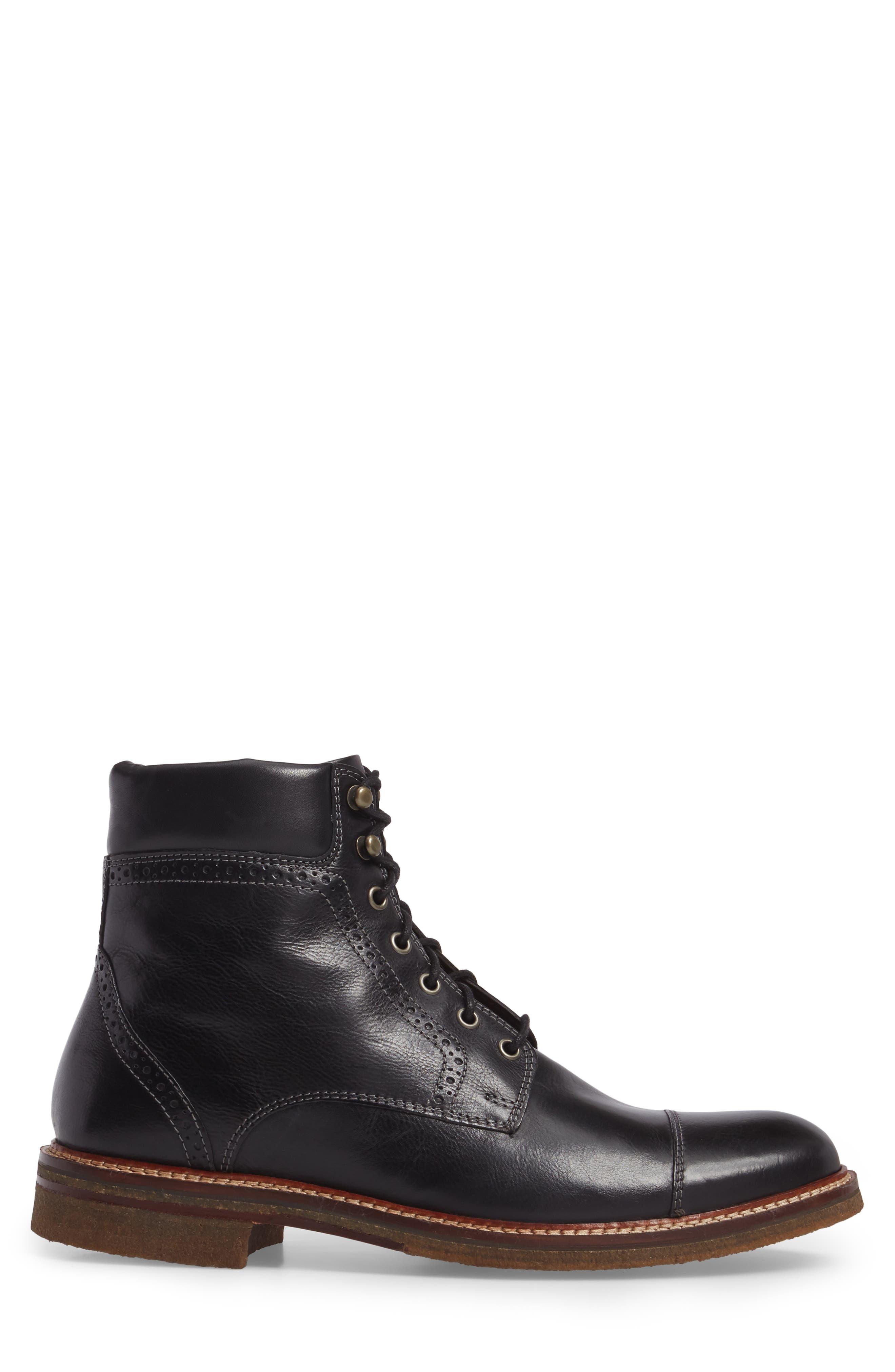 Forrester Cap Toe Boot,                             Alternate thumbnail 3, color,                             BLACK LEATHER