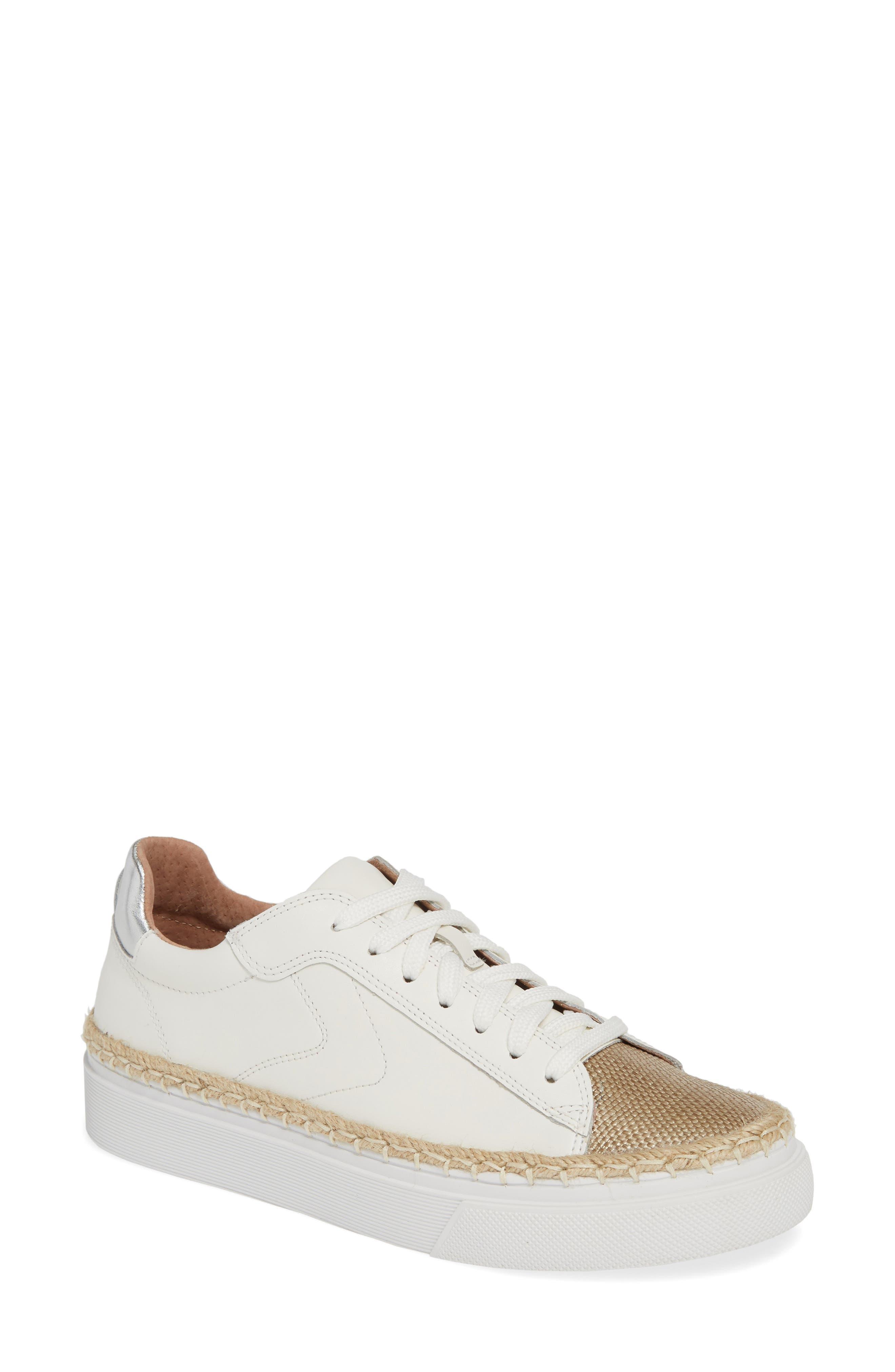 CASLON<SUP>®</SUP> Caleb Platform Sneaker, Main, color, WHITE LEATHER/ RAFFIA