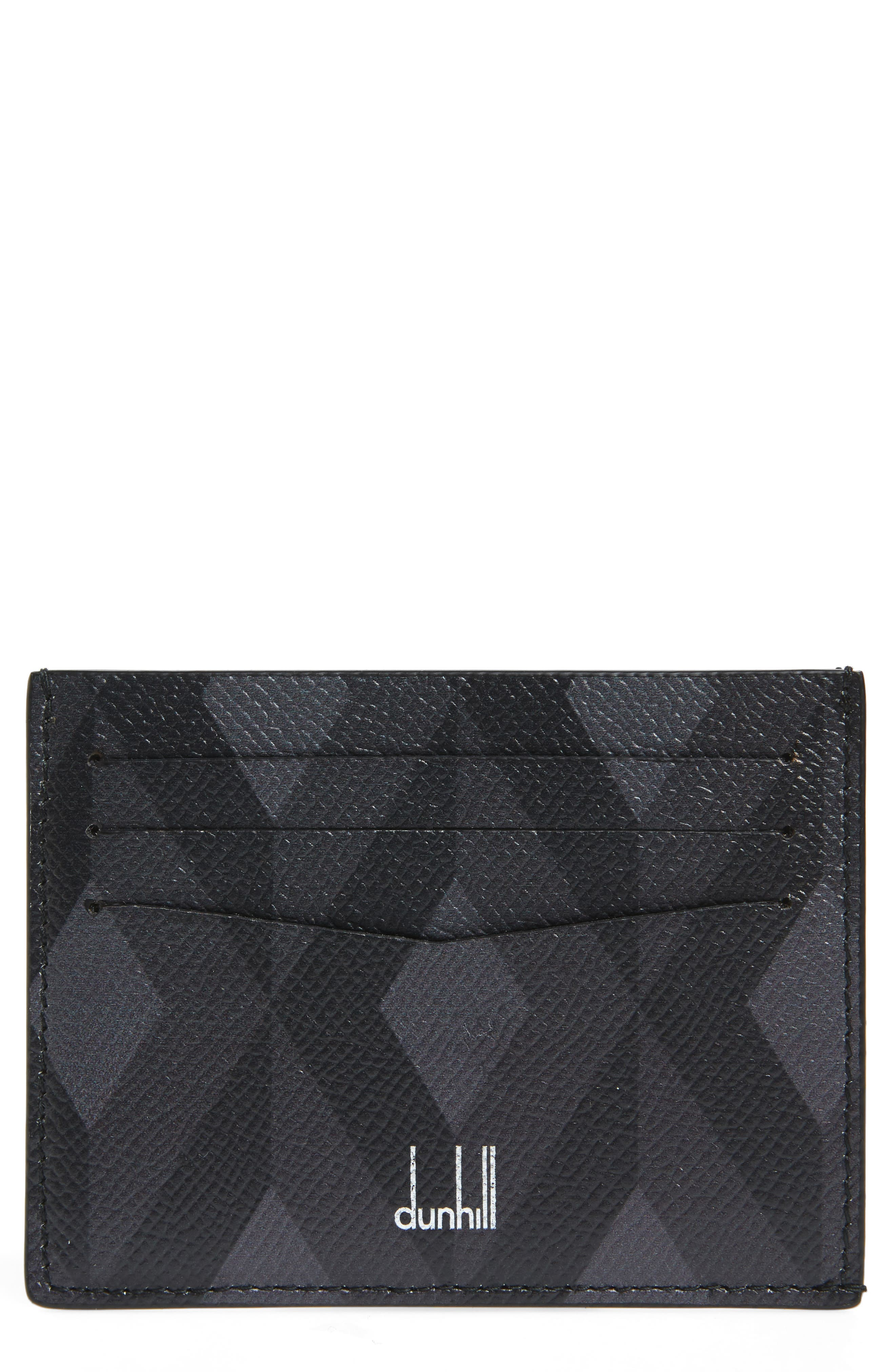 Cadogan Diamond Print Leather Card Case,                             Main thumbnail 1, color,                             GREY