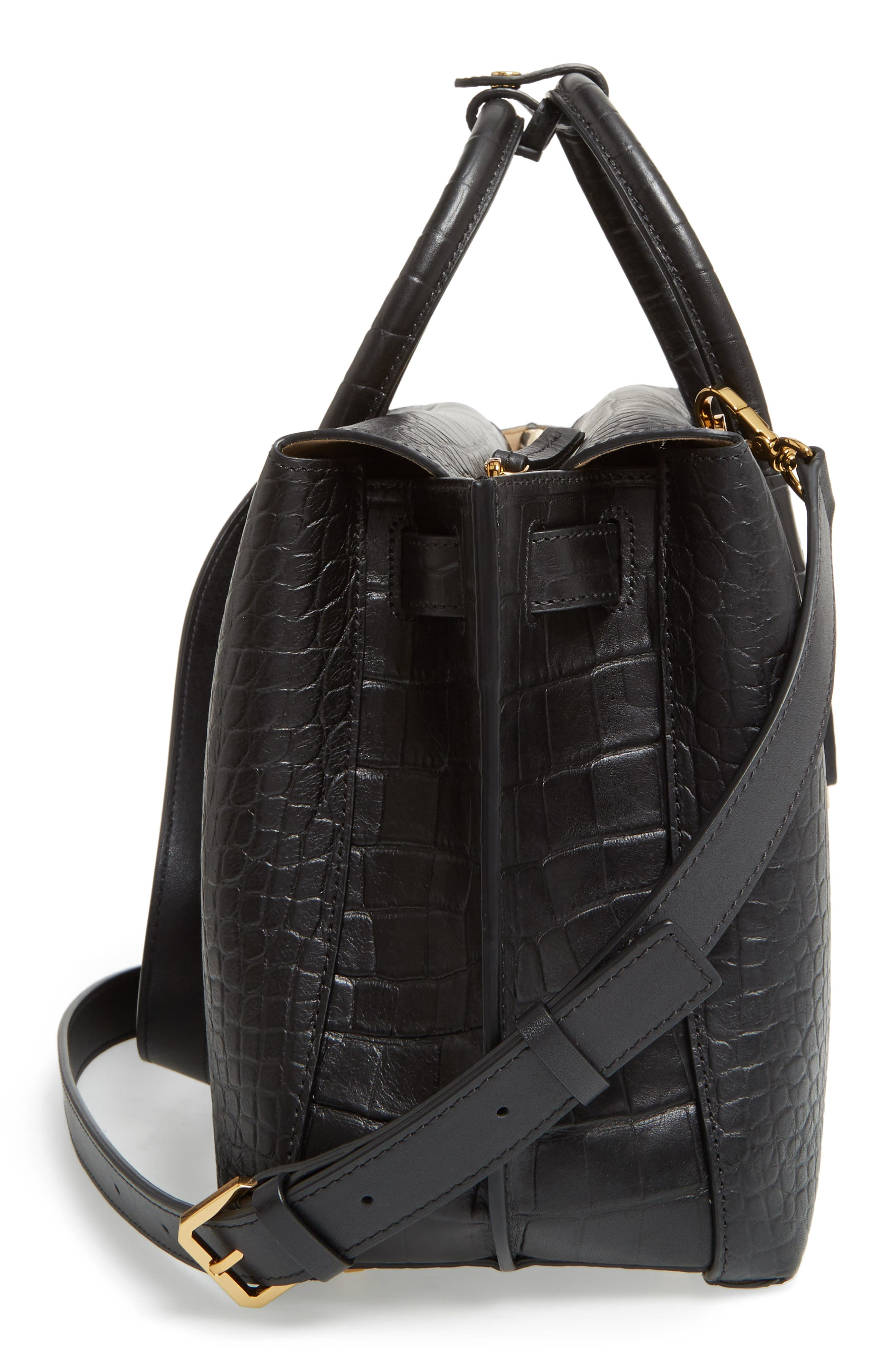 Medium Milla Croc Embossed Leather Tote,                             Alternate thumbnail 5, color,                             001