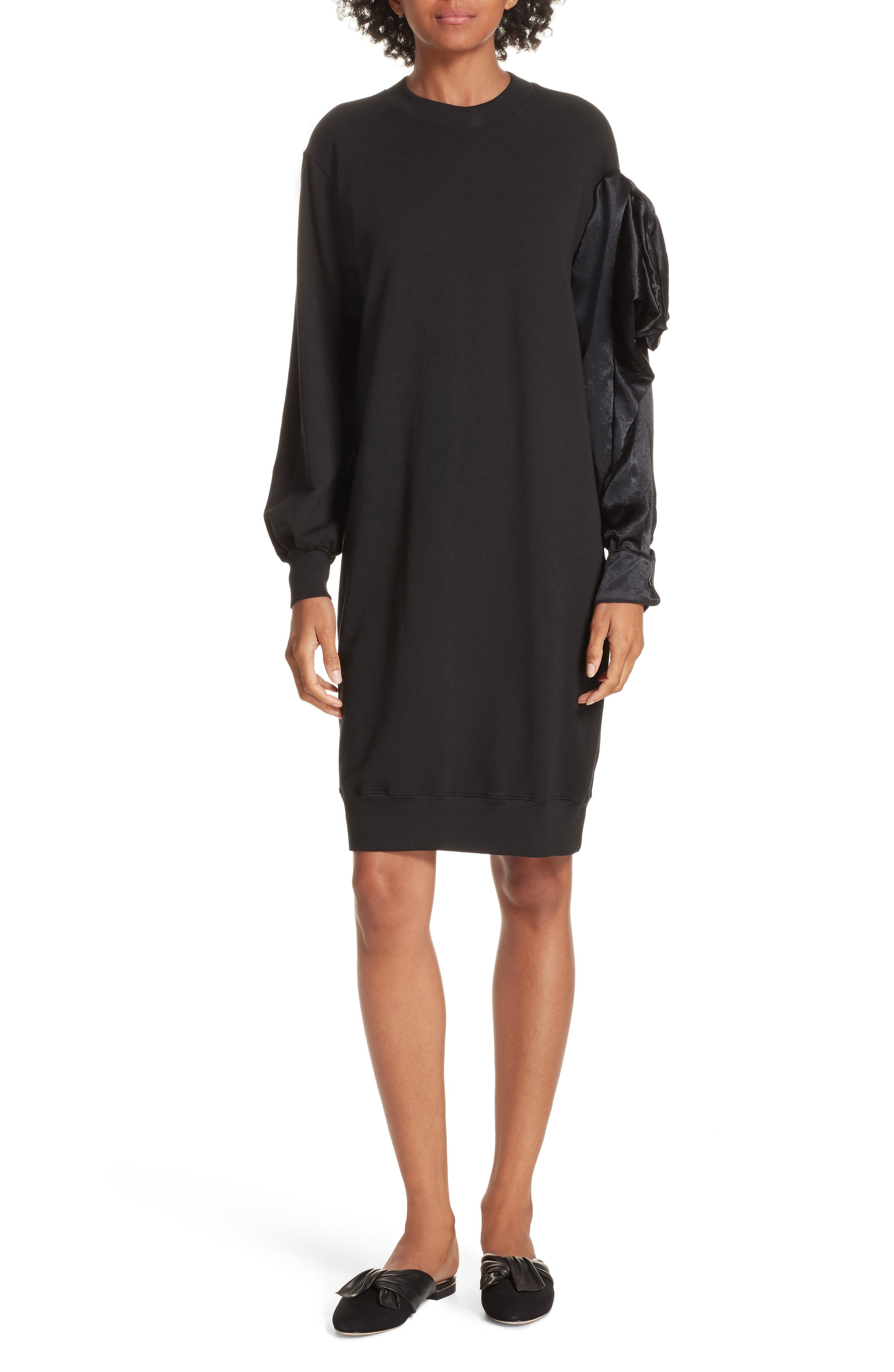 Asymmetric Sweatshirt Dress,                             Main thumbnail 1, color,                             BLACK