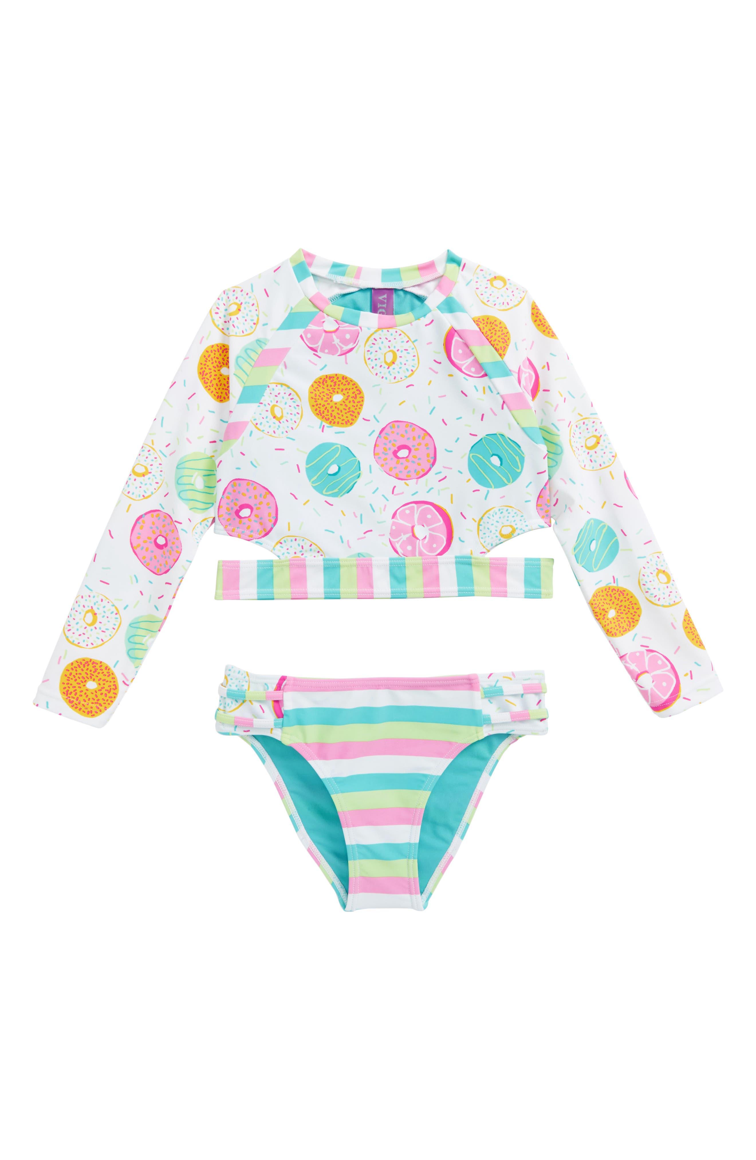 Yummy Donut Two-Piece Rashguard Swimsuit,                         Main,                         color, 100