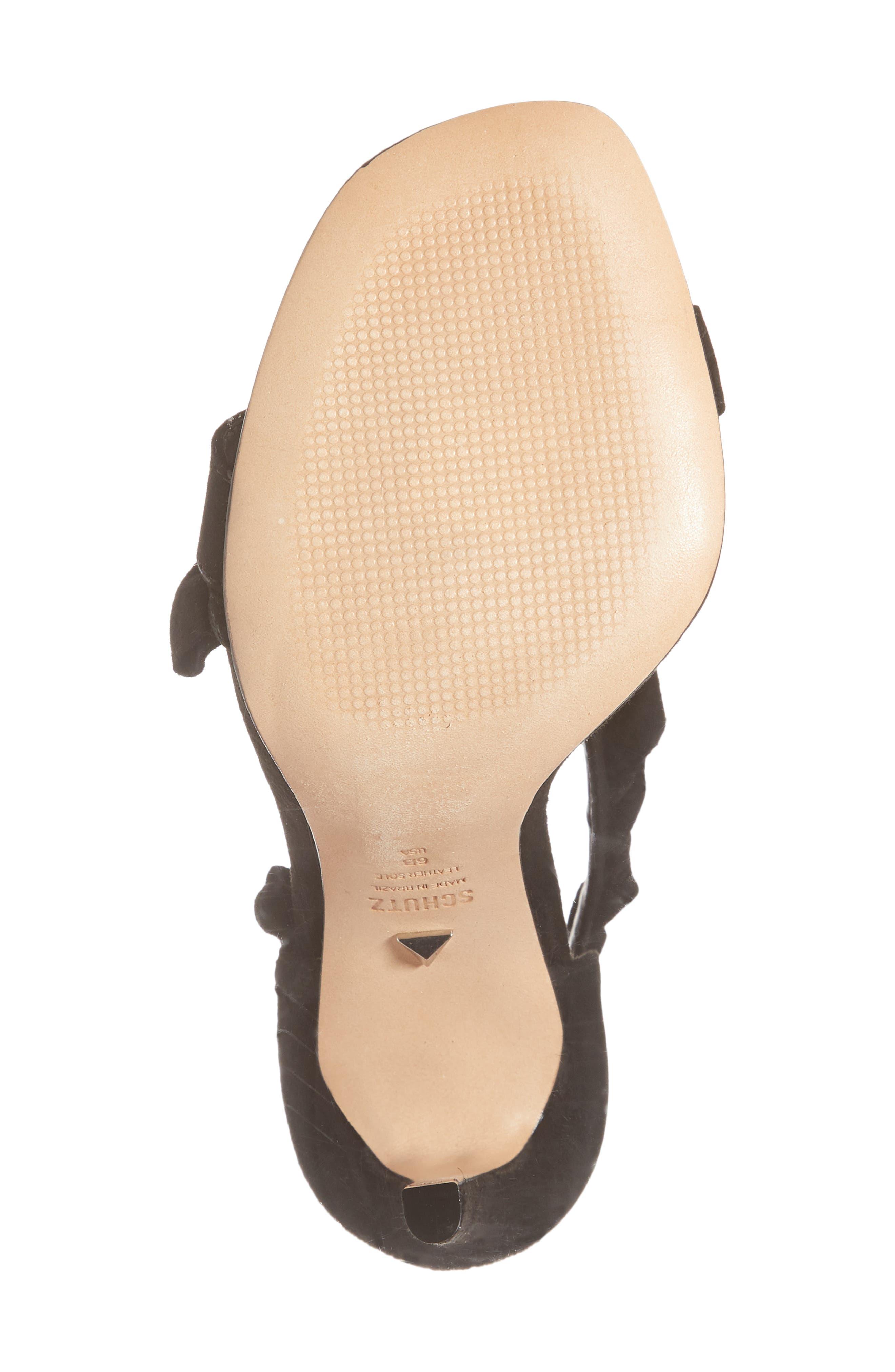 Aim Ruffle Sandal,                             Alternate thumbnail 6, color,                             BLACK SUEDE
