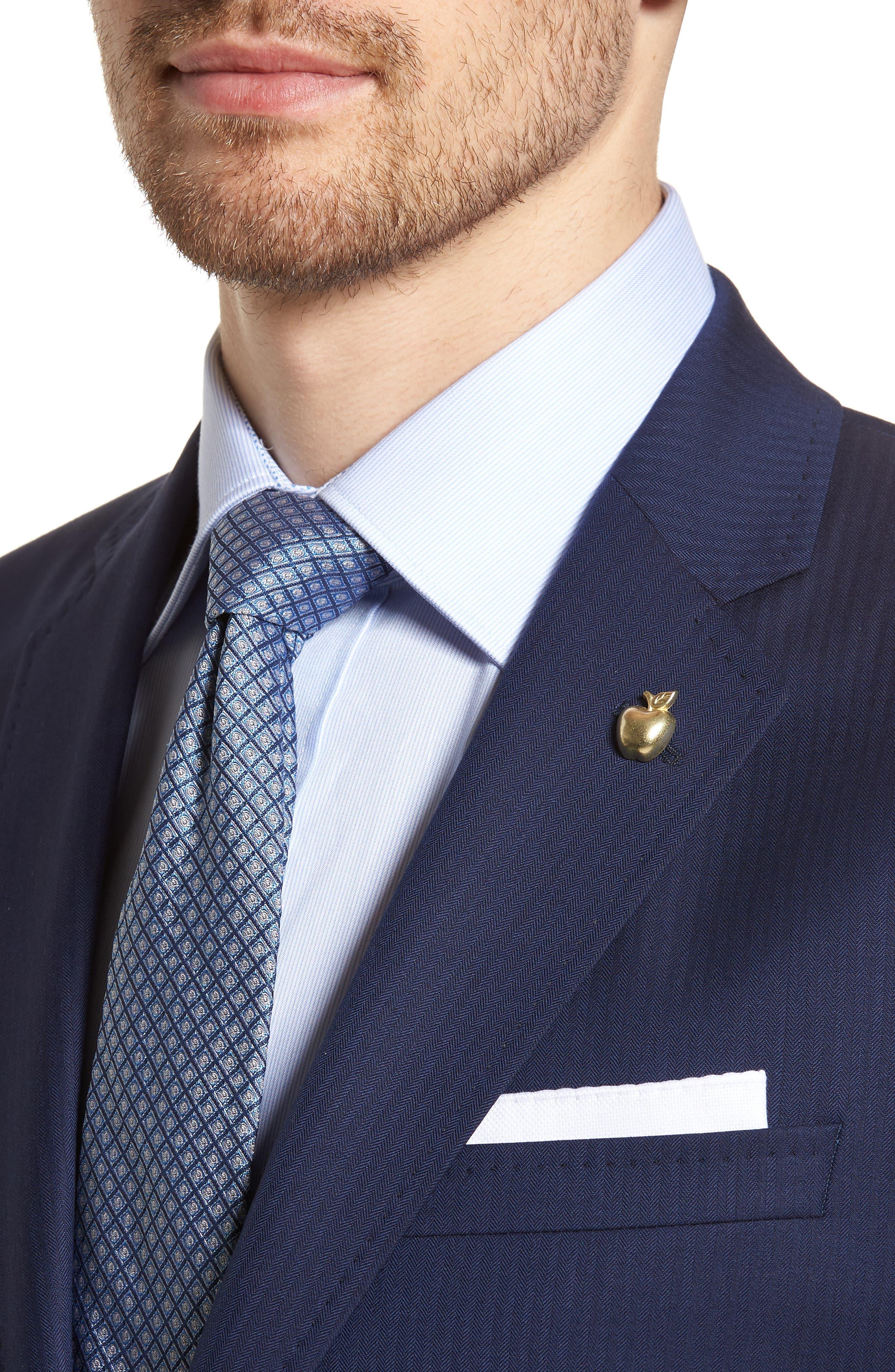 Jay Trim Fit Stripe Wool Suit,                             Alternate thumbnail 5, color,                             410