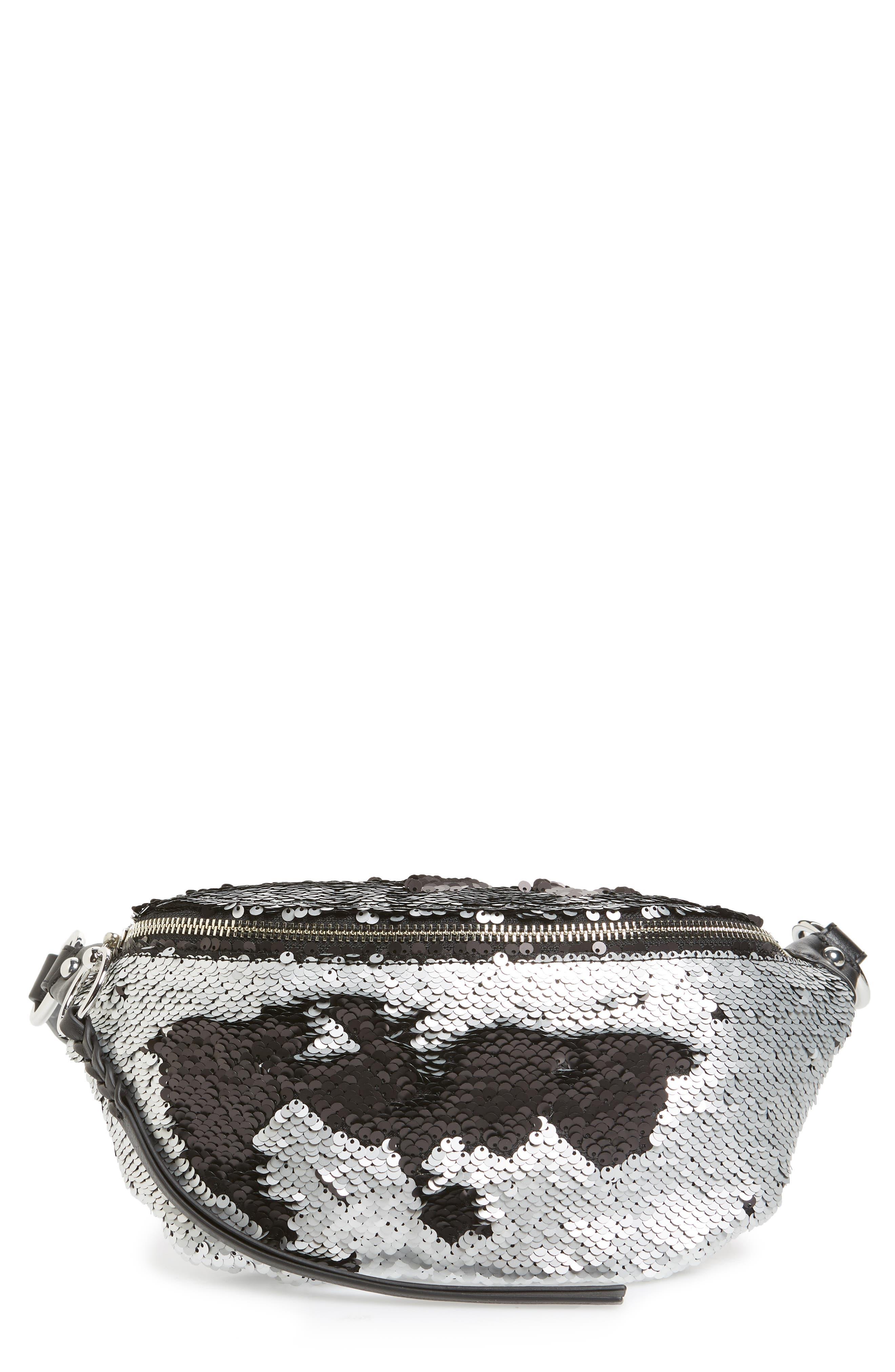 Sequin Belt Bag,                         Main,                         color, SILVER