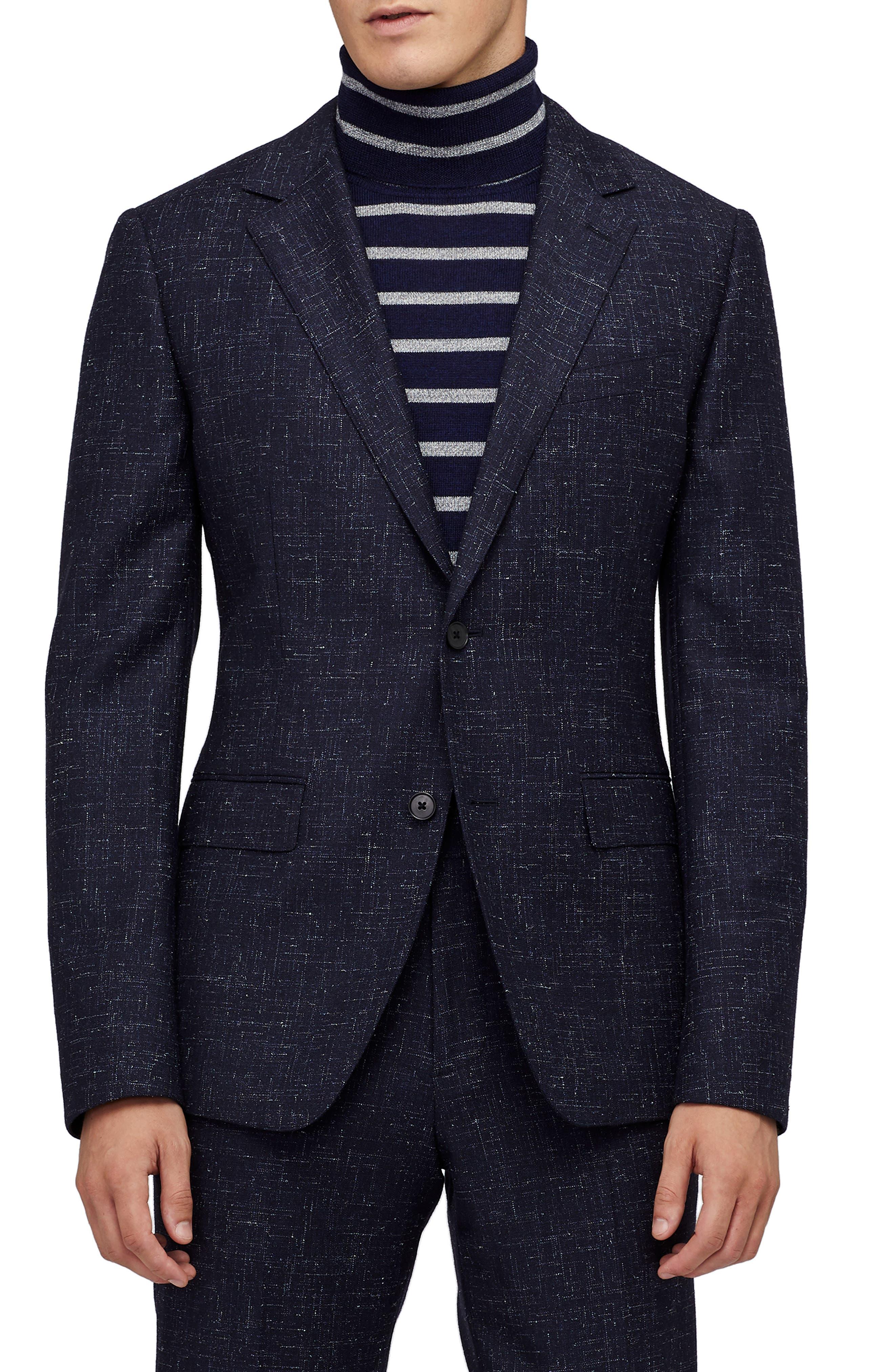 Jetsetter Crosshatch Wool Blend Blazer,                         Main,                         color, NAVY CROSS HATCH
