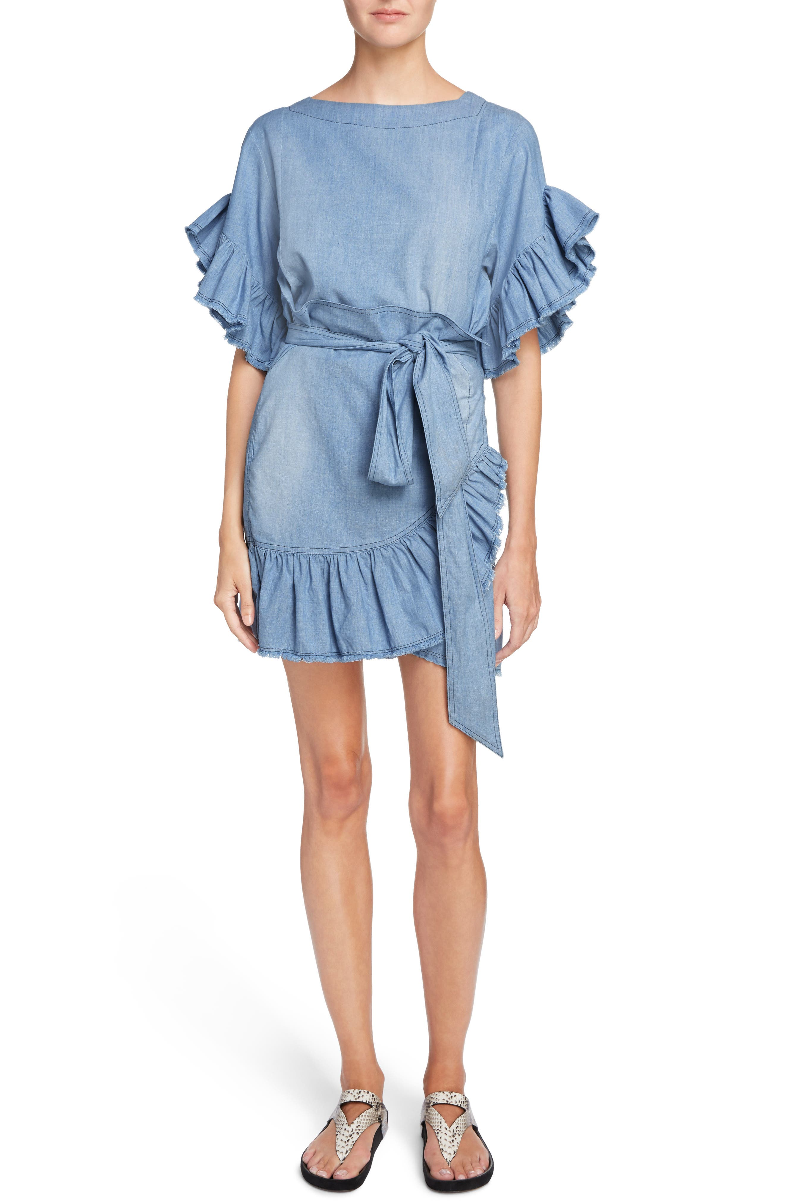 Isabel Marant Étoile Lelicia Denim Ruffle Dress,                         Main,                         color, 400