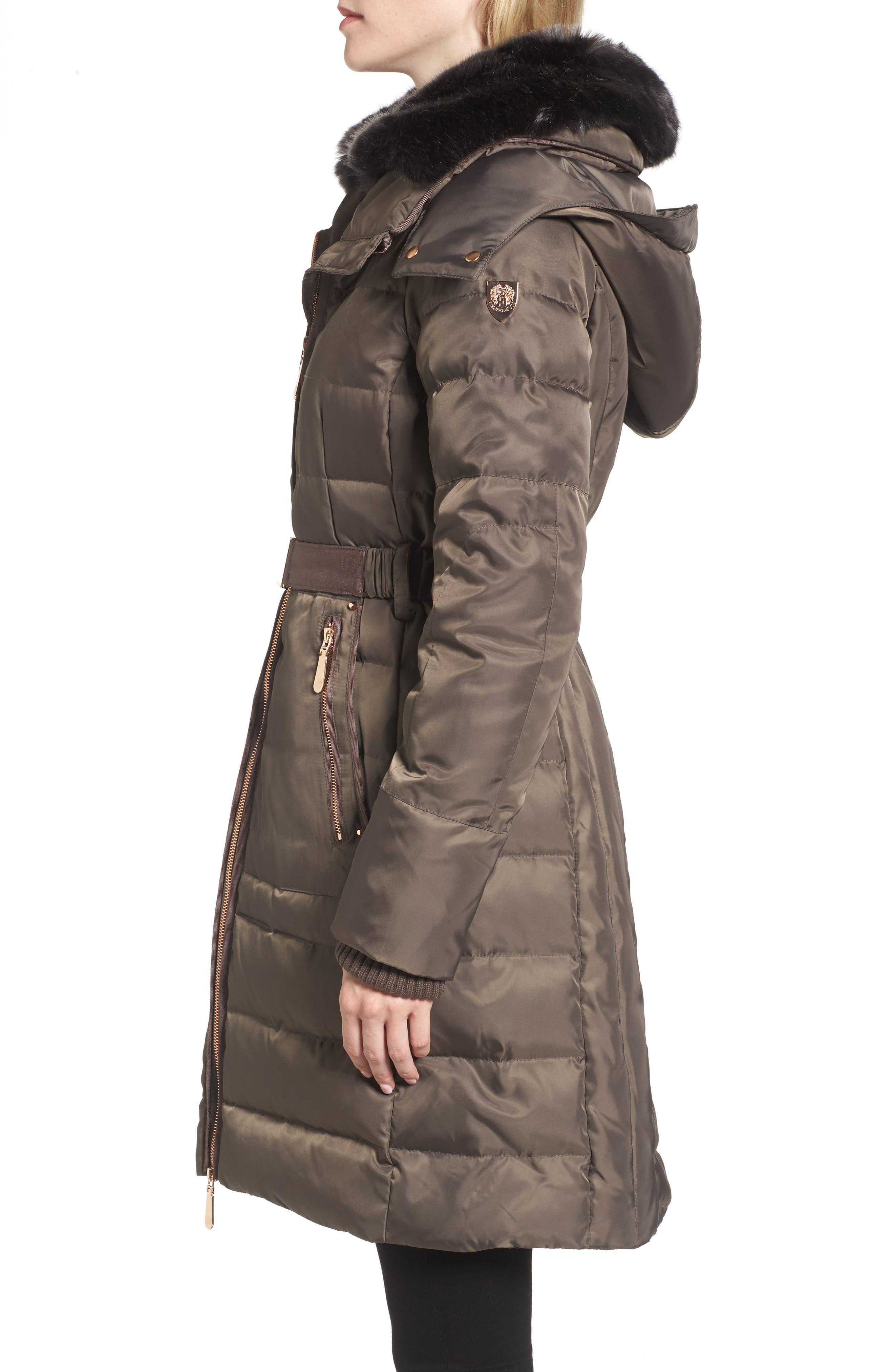 Belted Coat with Detachable Faux Fur,                             Alternate thumbnail 6, color,