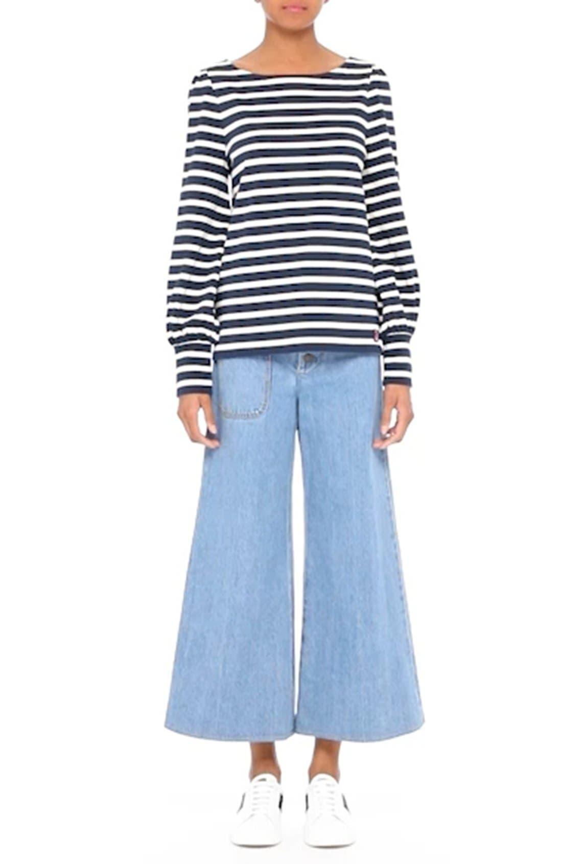 High Waist Crop Flare Jeans,                             Alternate thumbnail 8, color,                             491